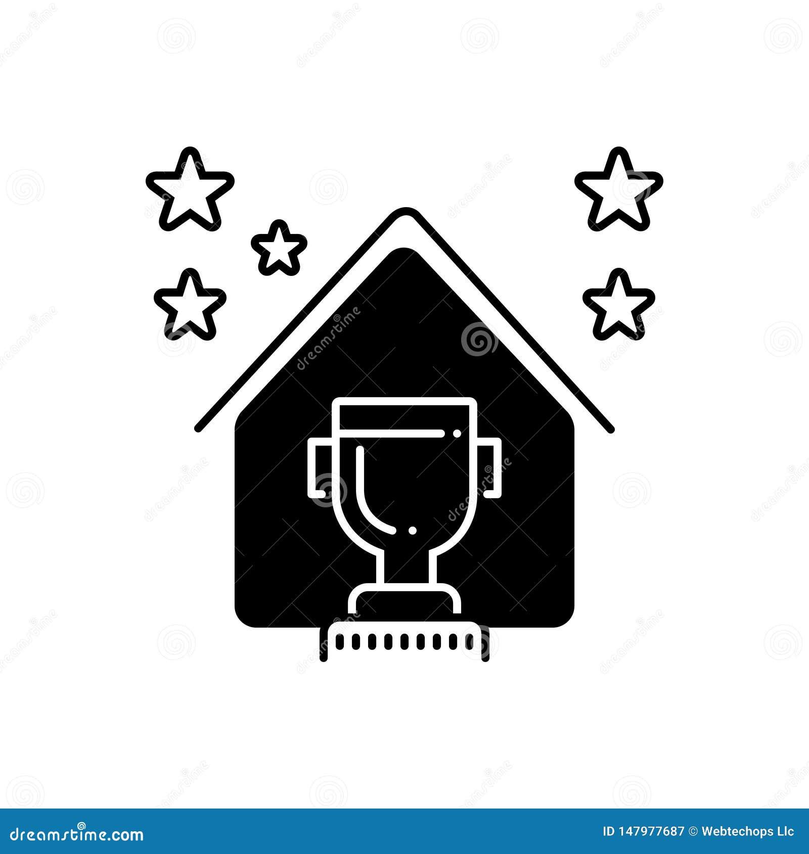Ícone contínuo preto para a concessão, o prêmio e a insígnia real dos bens imobiliários