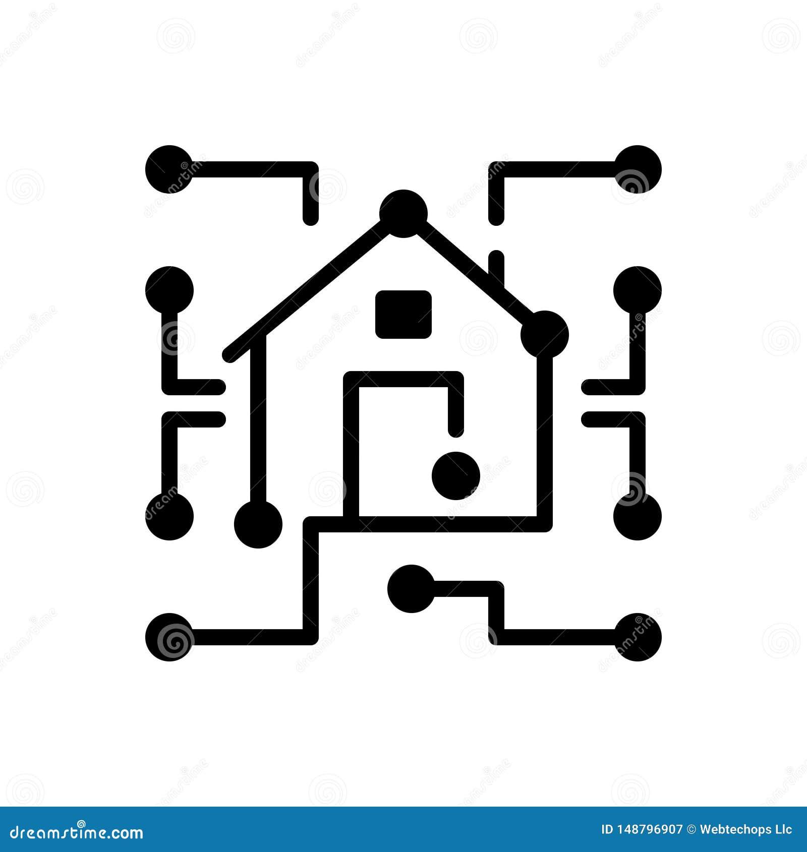 Ícone contínuo preto para o armazém de dados, dimensional e eletrônico