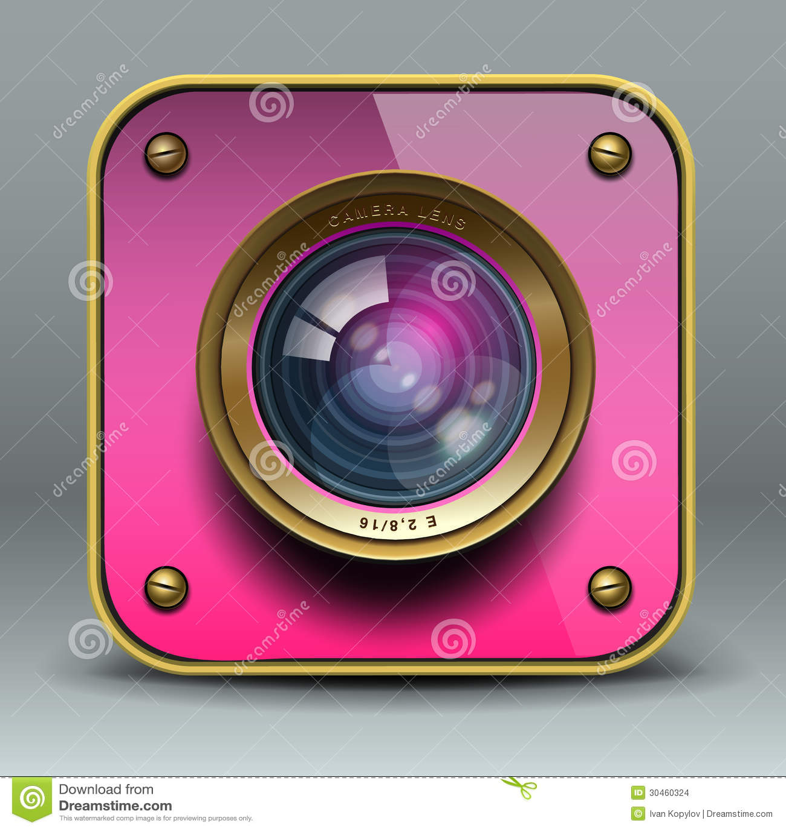 Ícone cor-de-rosa da câmera da foto