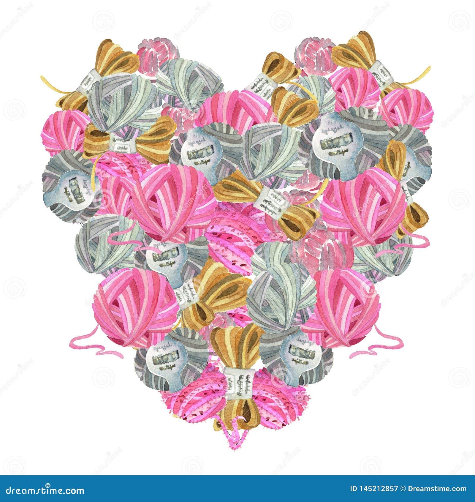Ícone coração-dado forma aquarela de ferramentas de confecção de malhas