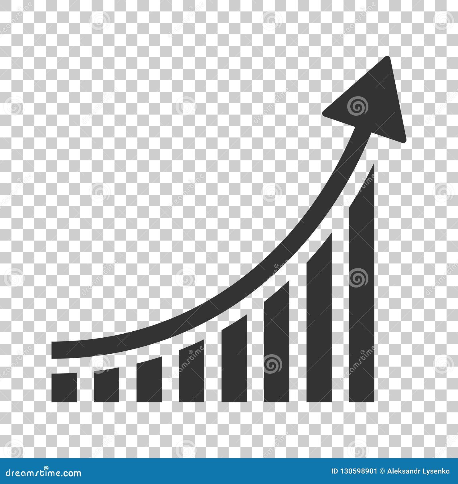 Ícone crescente do gráfico de barra no estilo liso Aumente o illu do vetor da seta