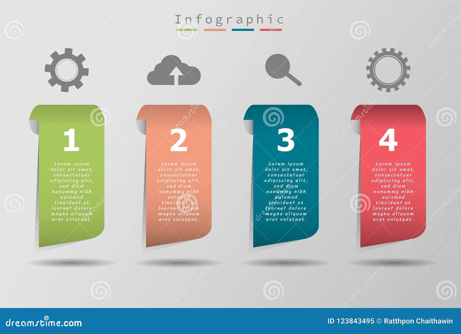 Ícone da amostra quatro e texto coloridos, o espaço temporal do negócio, illustrat