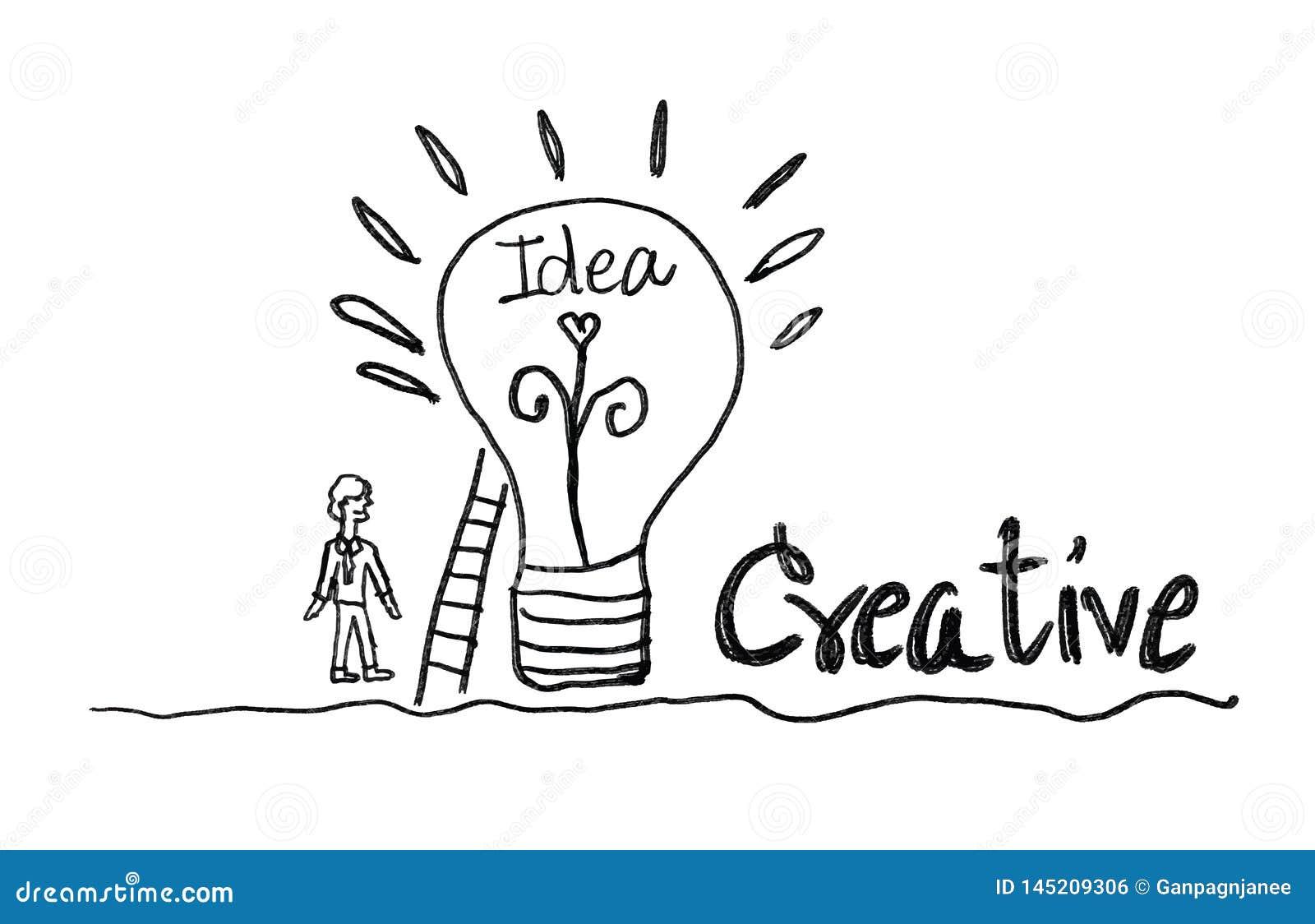 ícone da ampola com ilustração do vetor do homem de negócio conceito criativo da ideia, conceito dos trabalhos de equipe