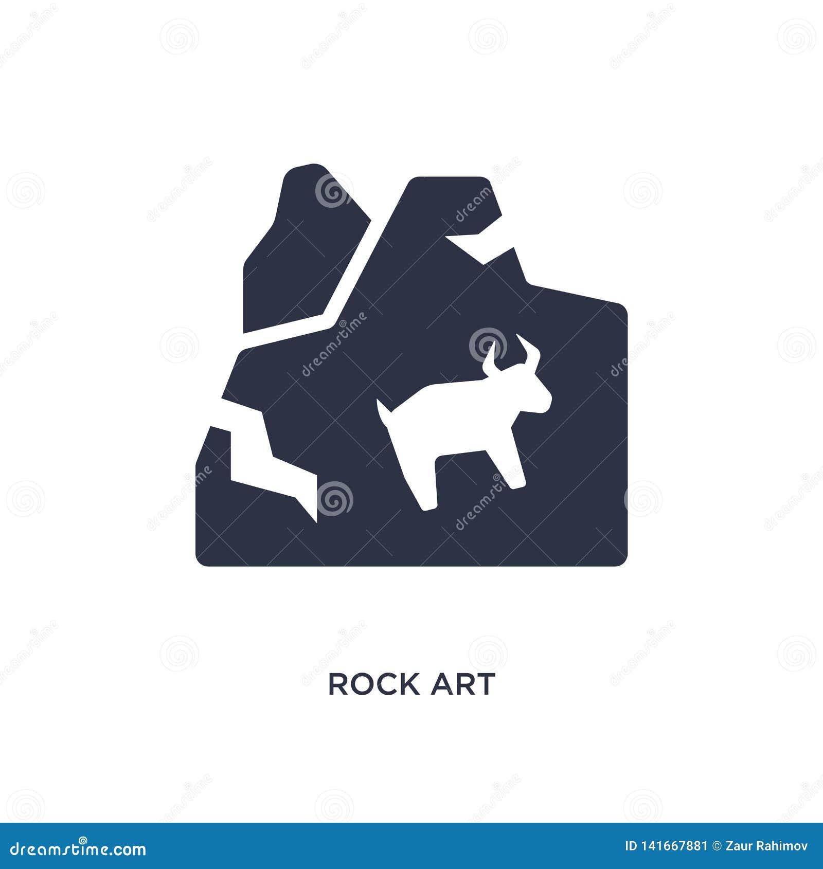 ícone da arte da rocha no fundo branco Ilustração simples do elemento do conceito da Idade da Pedra