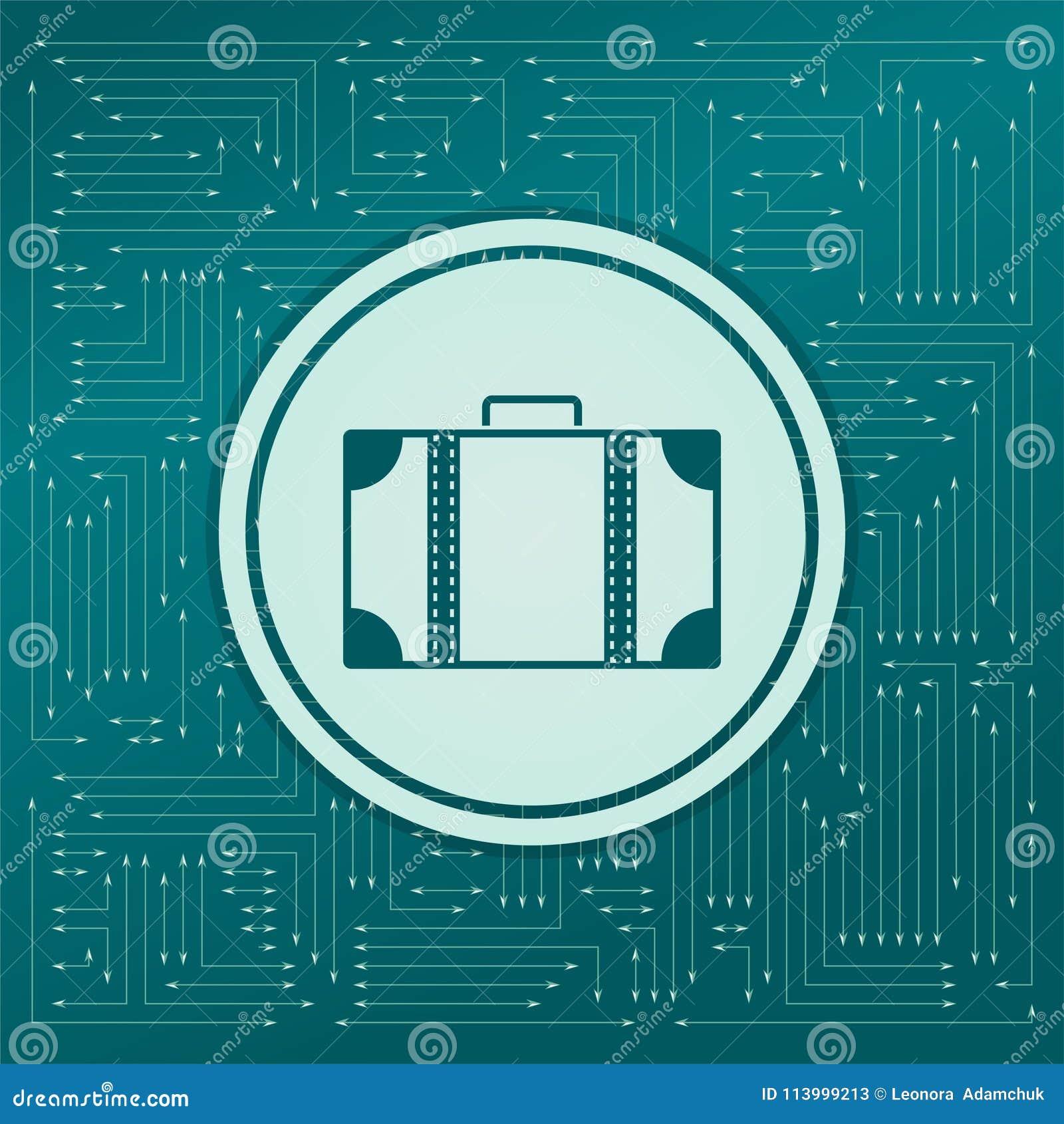 Ícone da bagagem em um fundo verde, com as setas em sentidos diferentes Aparece na placa eletrônica