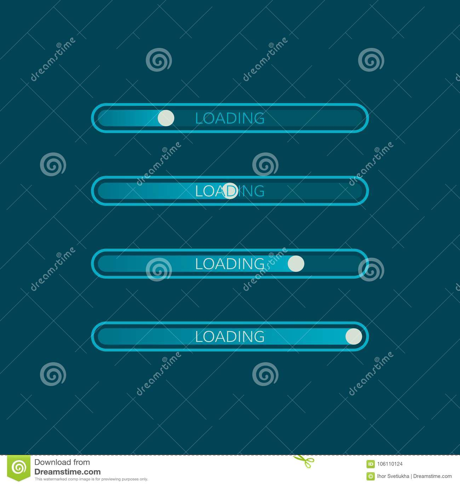 Ícone da barra de carga Elemento criativo do design web Progresso do Web site da carga Ilustração do vetor