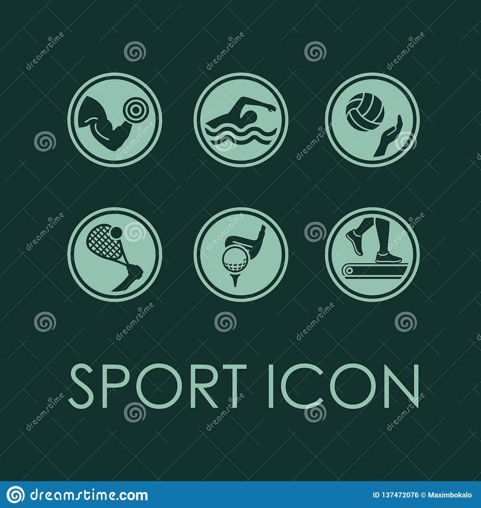Ícone da beleza da aptidão do esporte do vetor