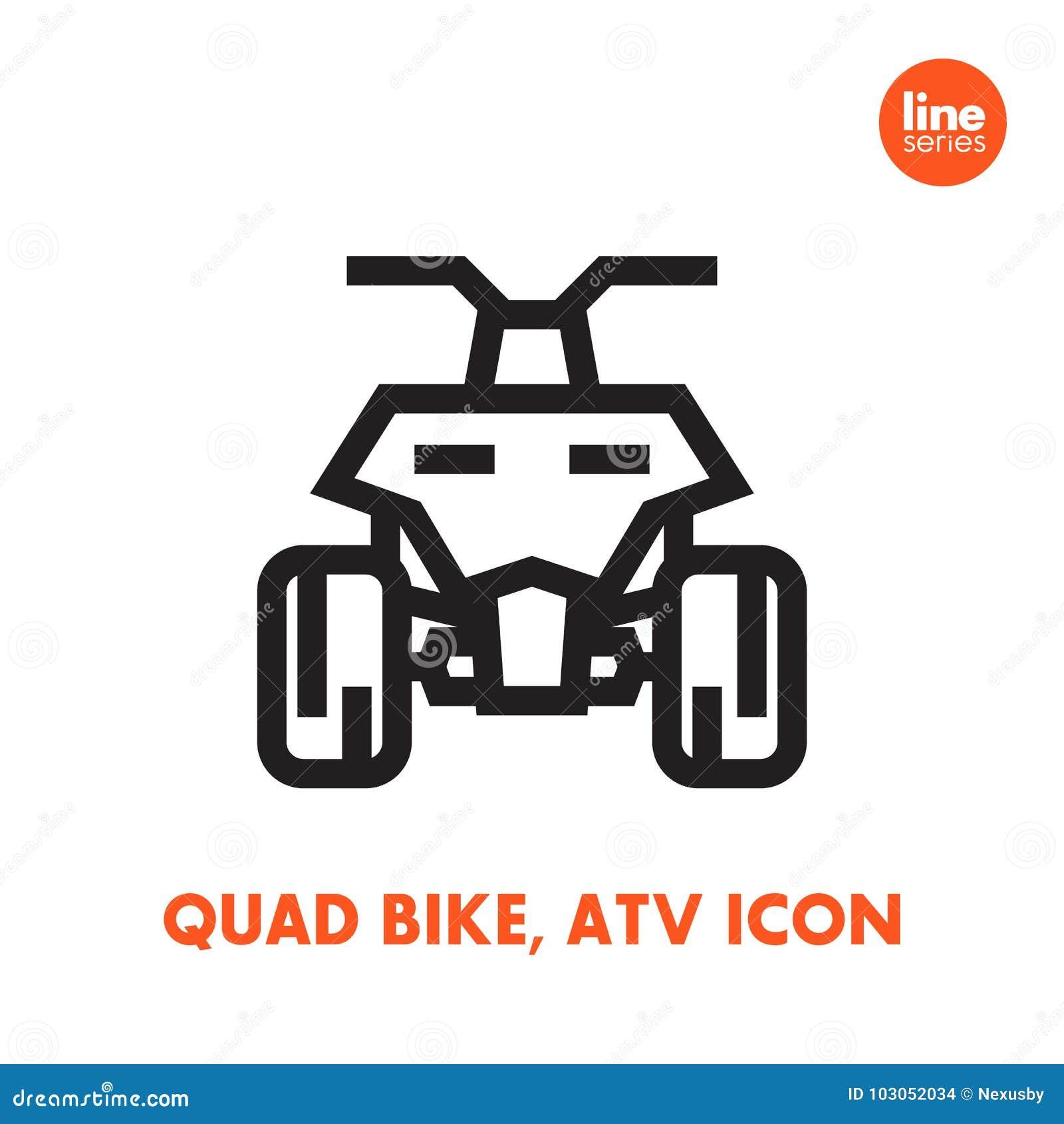 Ícone da bicicleta do quadrilátero, todo o veículo ATV do terreno