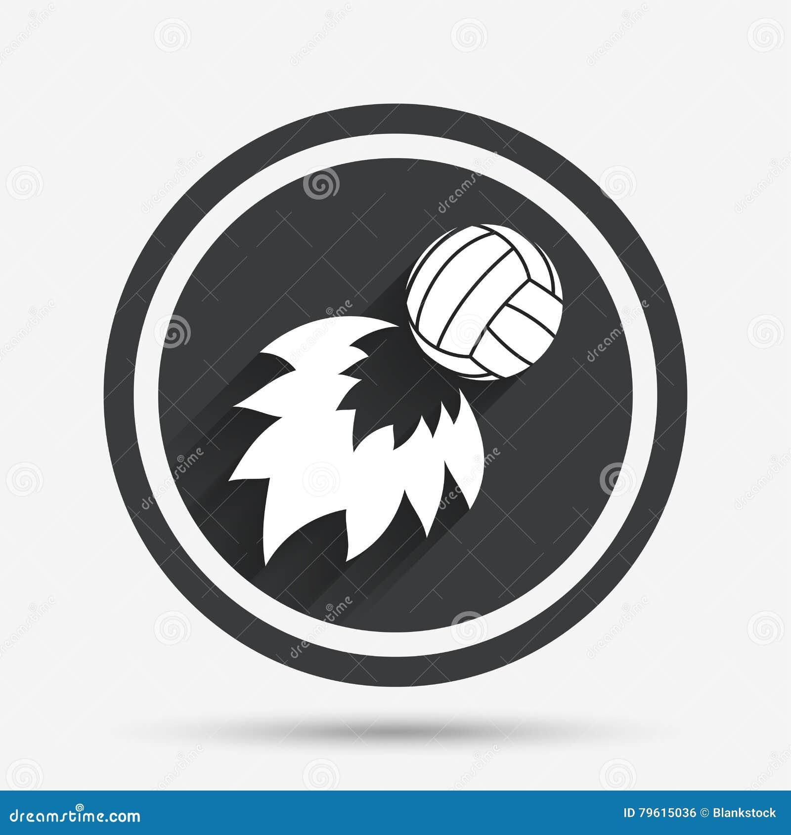 Ícone da bola de fogo do voleibol Símbolo do esporte da praia
