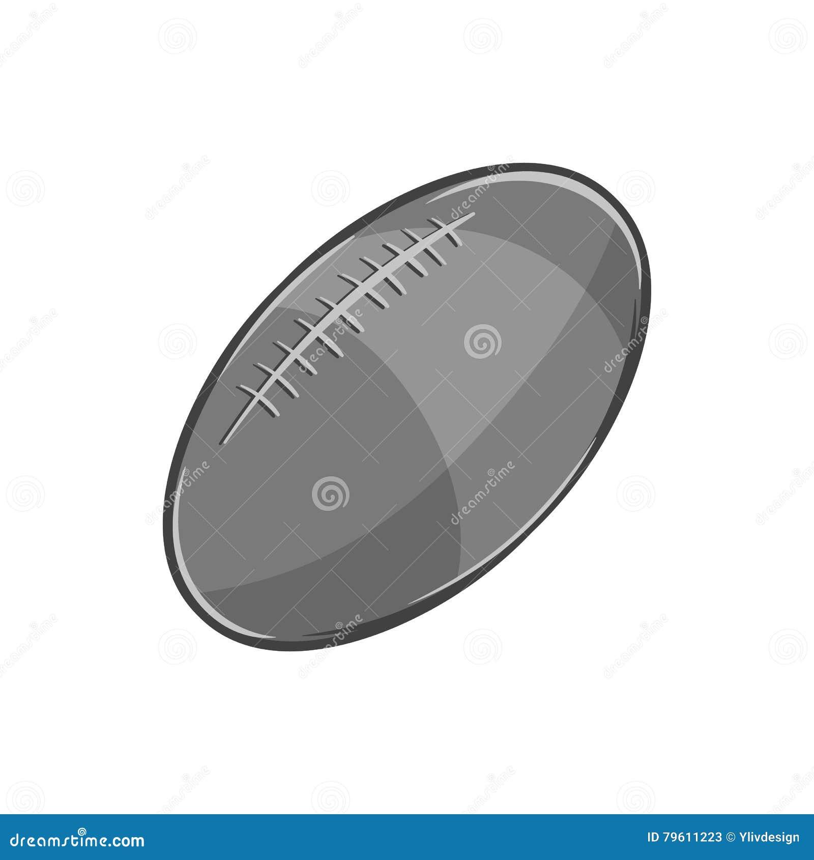Ícone da bola de rugby, estilo monocromático preto