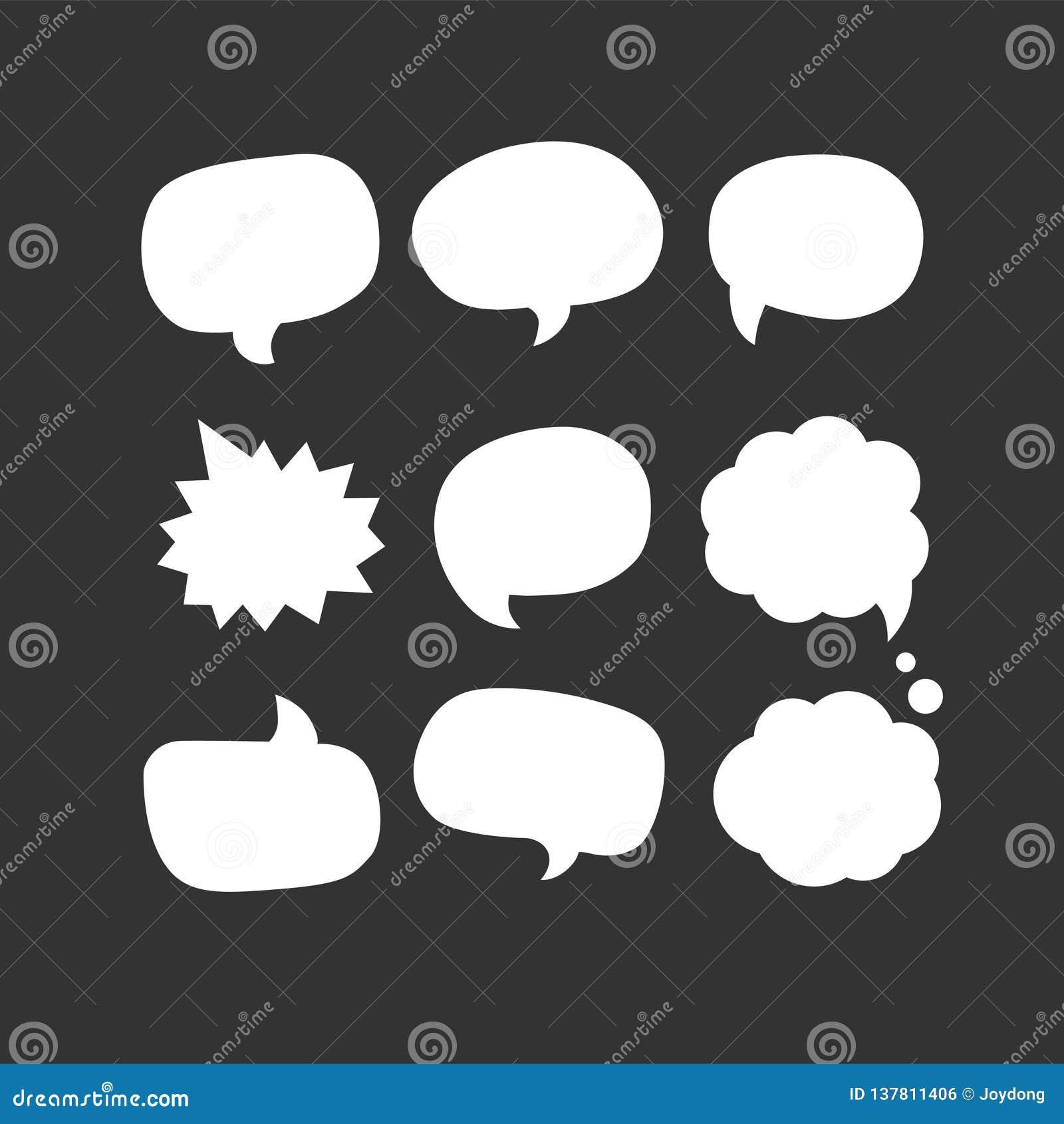 Ícone da bolha do discurso Nove de ícones ajustados do vetor da Web