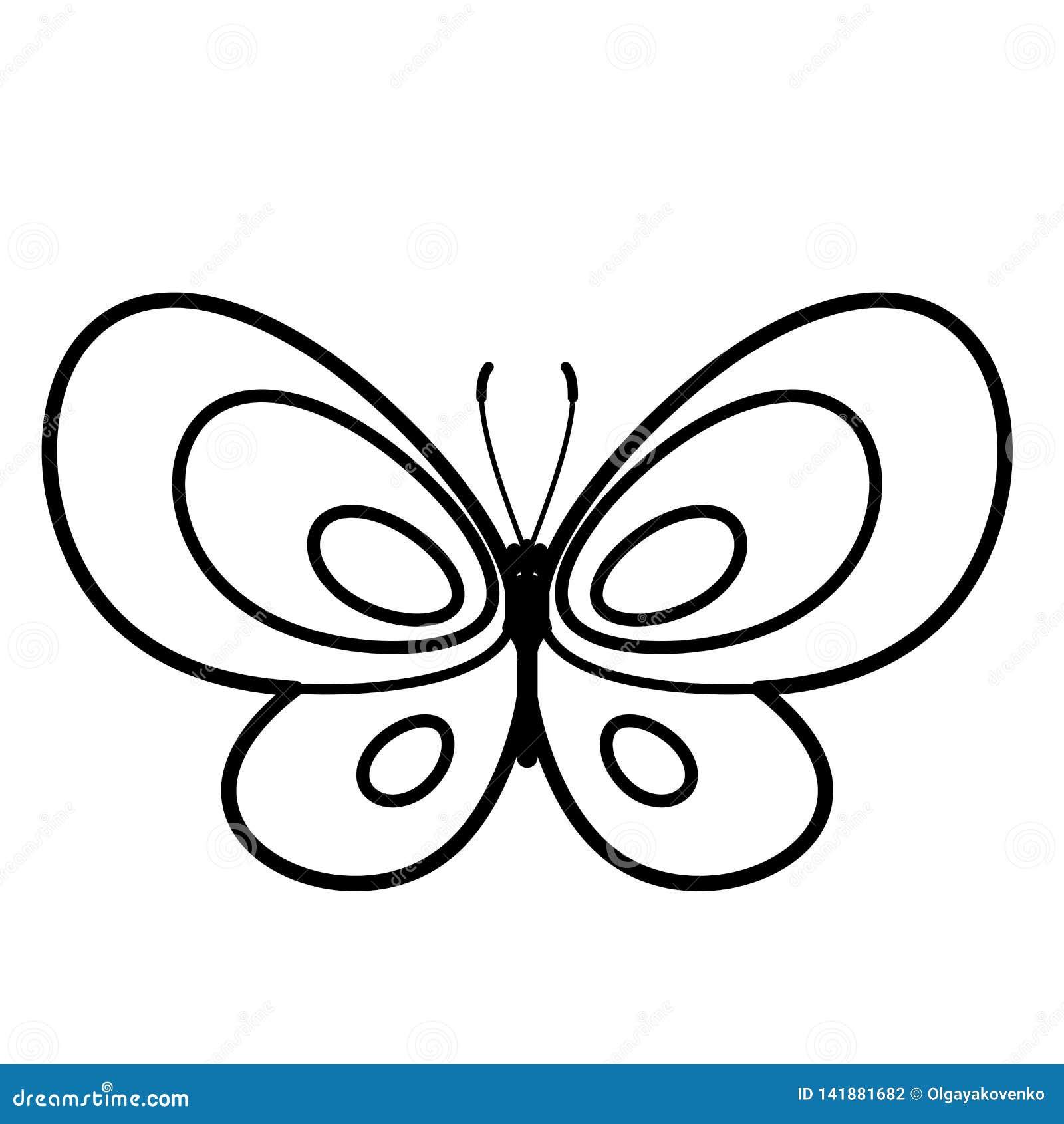 Ícone da borboleta Linha arte Fundo branco Ícone social dos meios Conceito do negócio Sinal, símbolo, elemento da Web Molde da ta