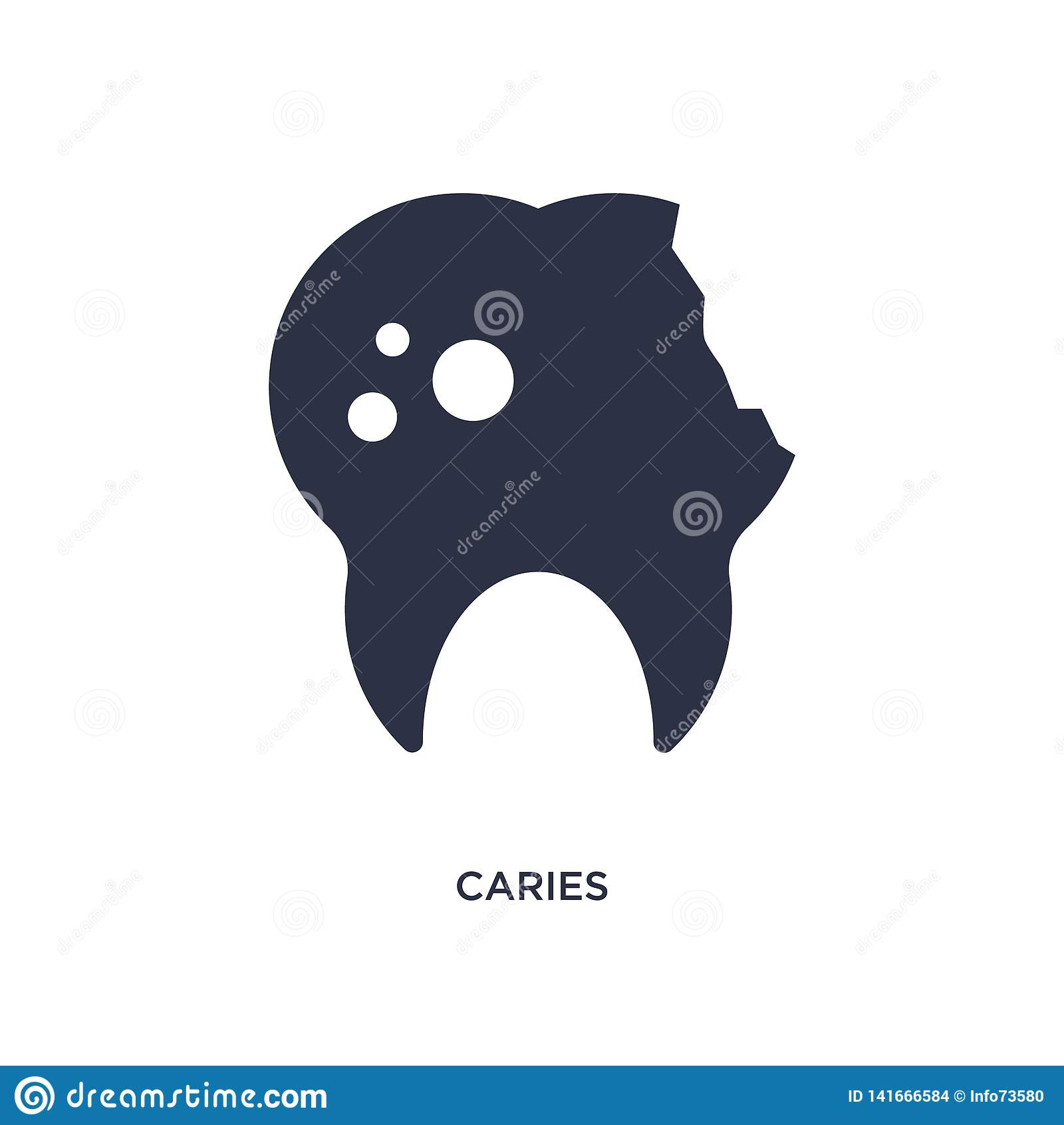 ícone da cárie no fundo branco Ilustração simples do elemento do conceito médico