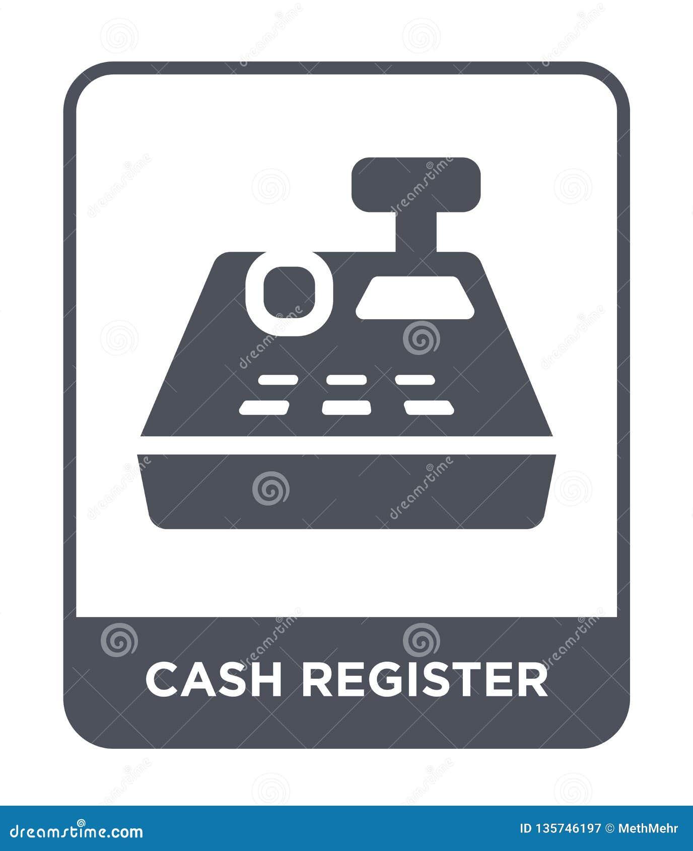 ícone da caixa registadora no estilo na moda do projeto ícone da caixa registadora isolado no fundo branco ícone do vetor da caix