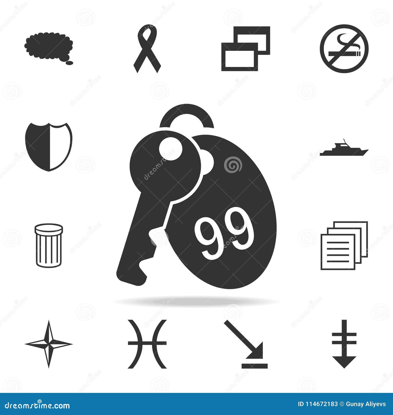 Ícone da chave de sala do hotel Grupo detalhado de ícones da Web Projeto gráfico da qualidade superior Um dos ícones da coleção p