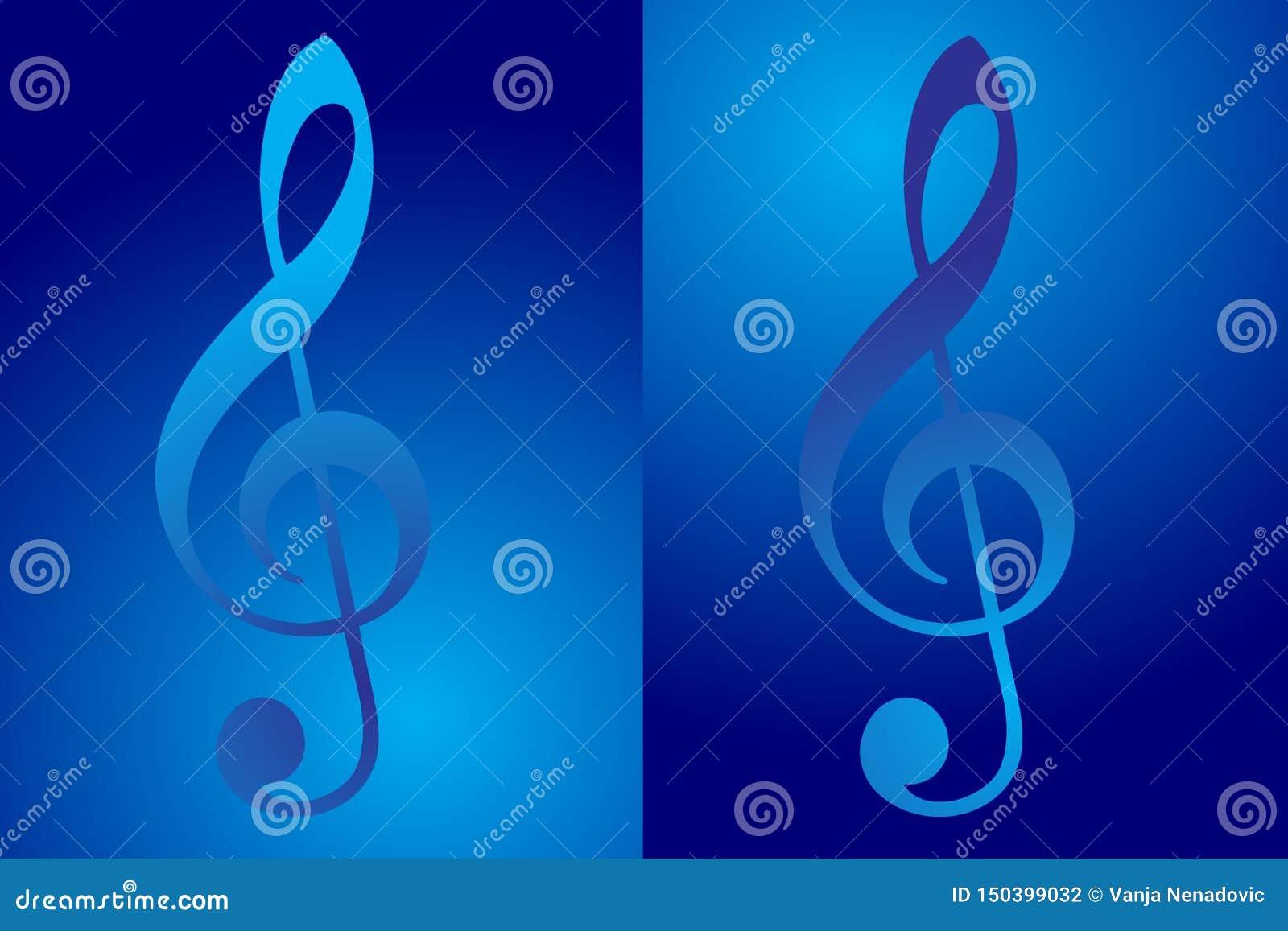 Ícone da clave de sol, nota da música na cor azul