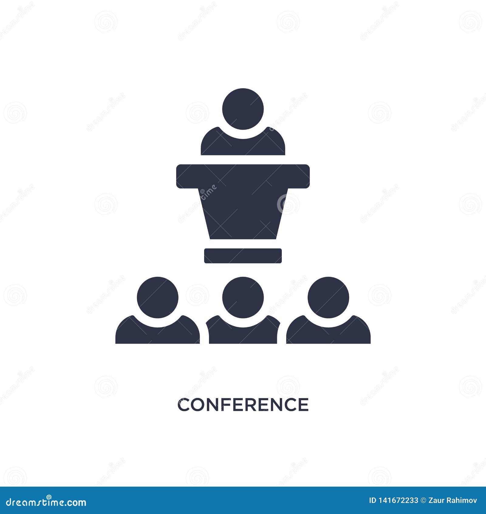 ícone da conferência no fundo branco Ilustração simples do elemento do conceito da estratégia