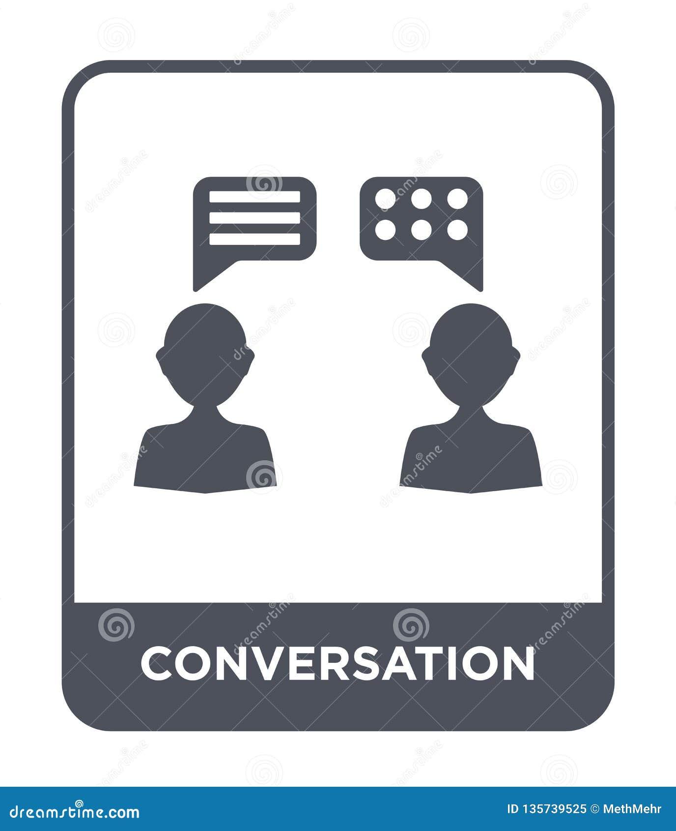 ícone da conversação no estilo na moda do projeto ícone da conversação isolado no fundo branco ícone do vetor da conversação simp
