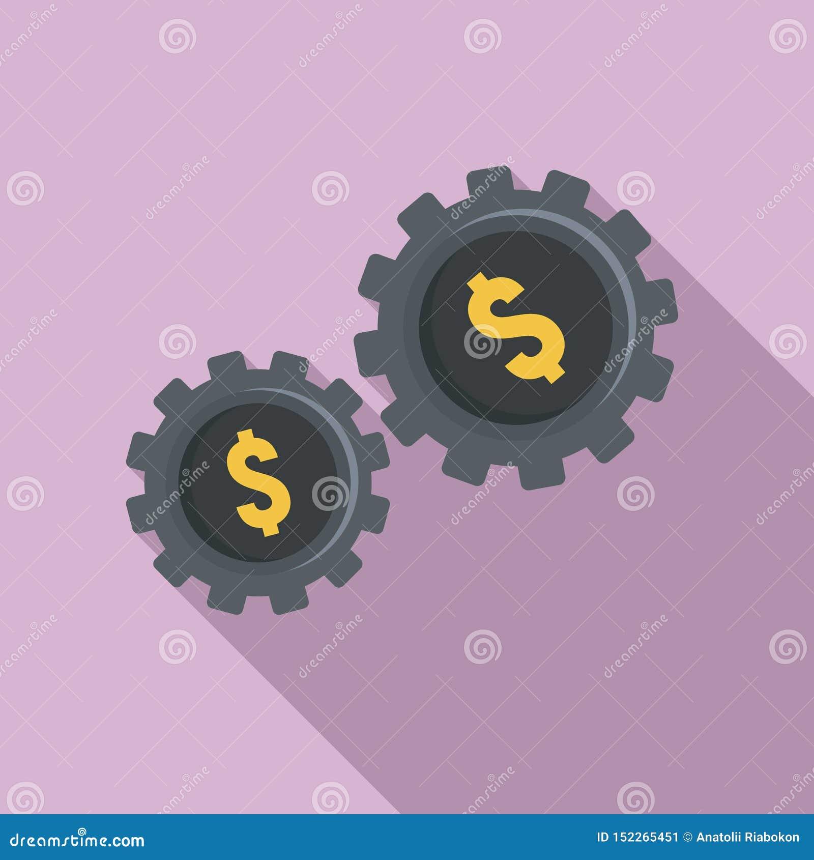 Ícone da engrenagem do dinheiro, estilo liso