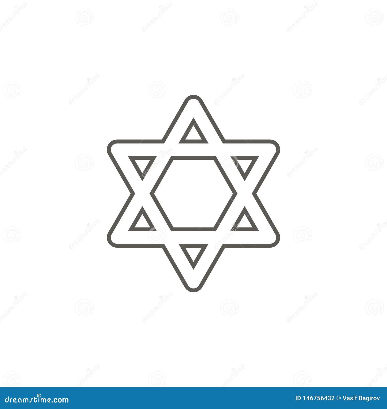 Ícone da estrela de David de Israel Ilustra??o simples do elemento do mapa e do conceito da navega??o Ícone da estrela de David d