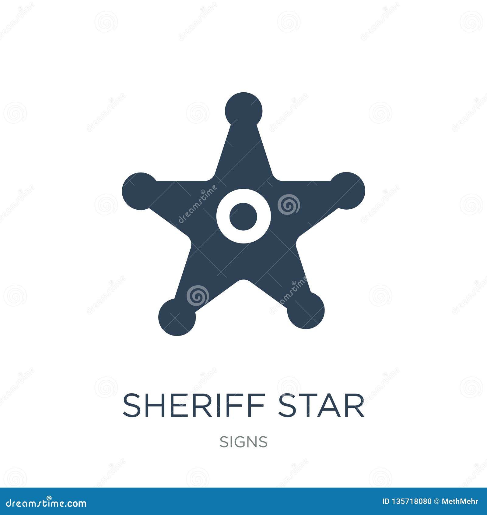 ícone da estrela do xerife no estilo na moda do projeto Ícone da estrela do xerife isolado no fundo branco ícone do vetor da estr