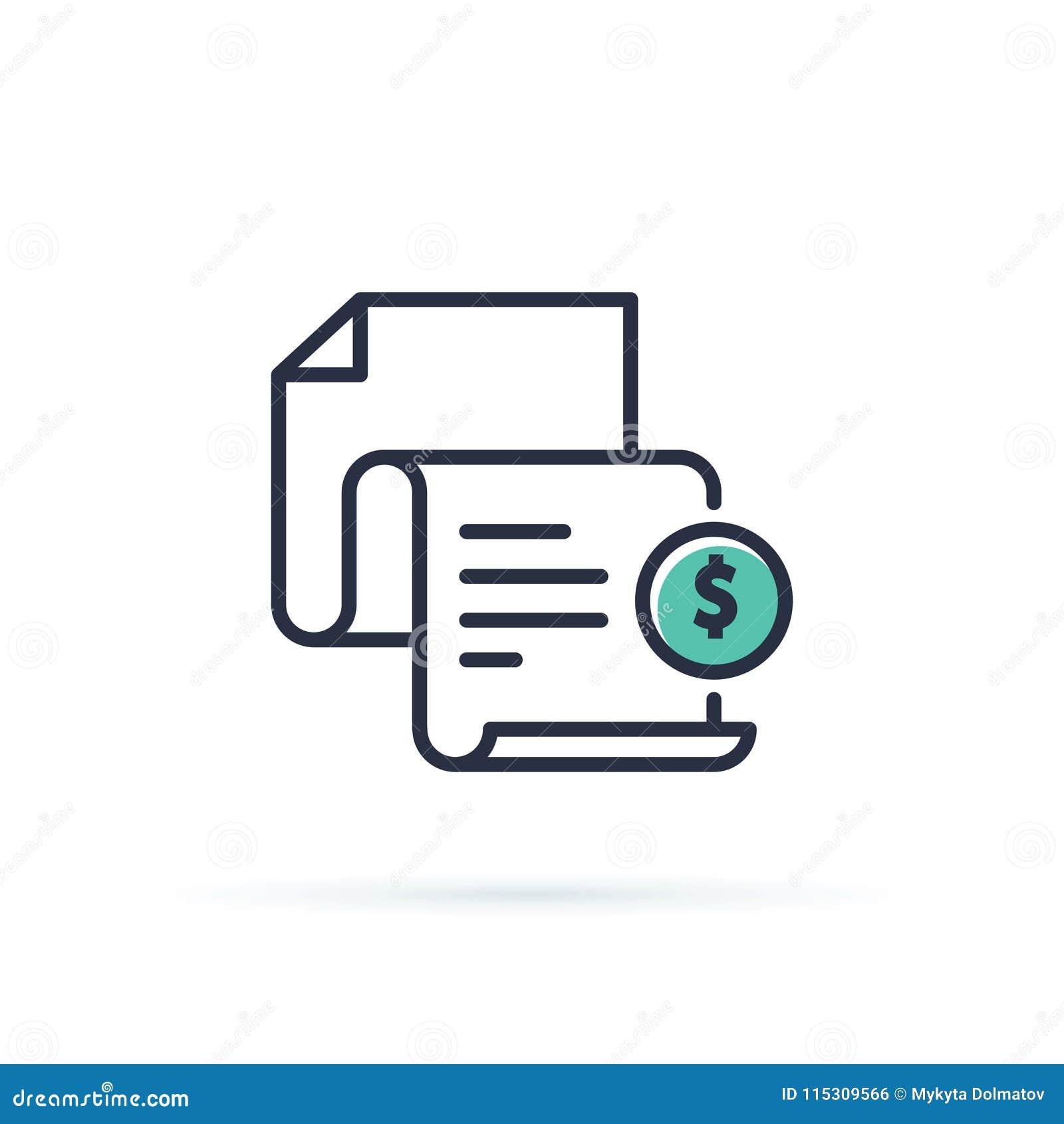 Ícone da fatura Bill pagou o símbolo Ícone do esboço do formulário de imposto Original de papel com sinal do dinheiro Ilustração