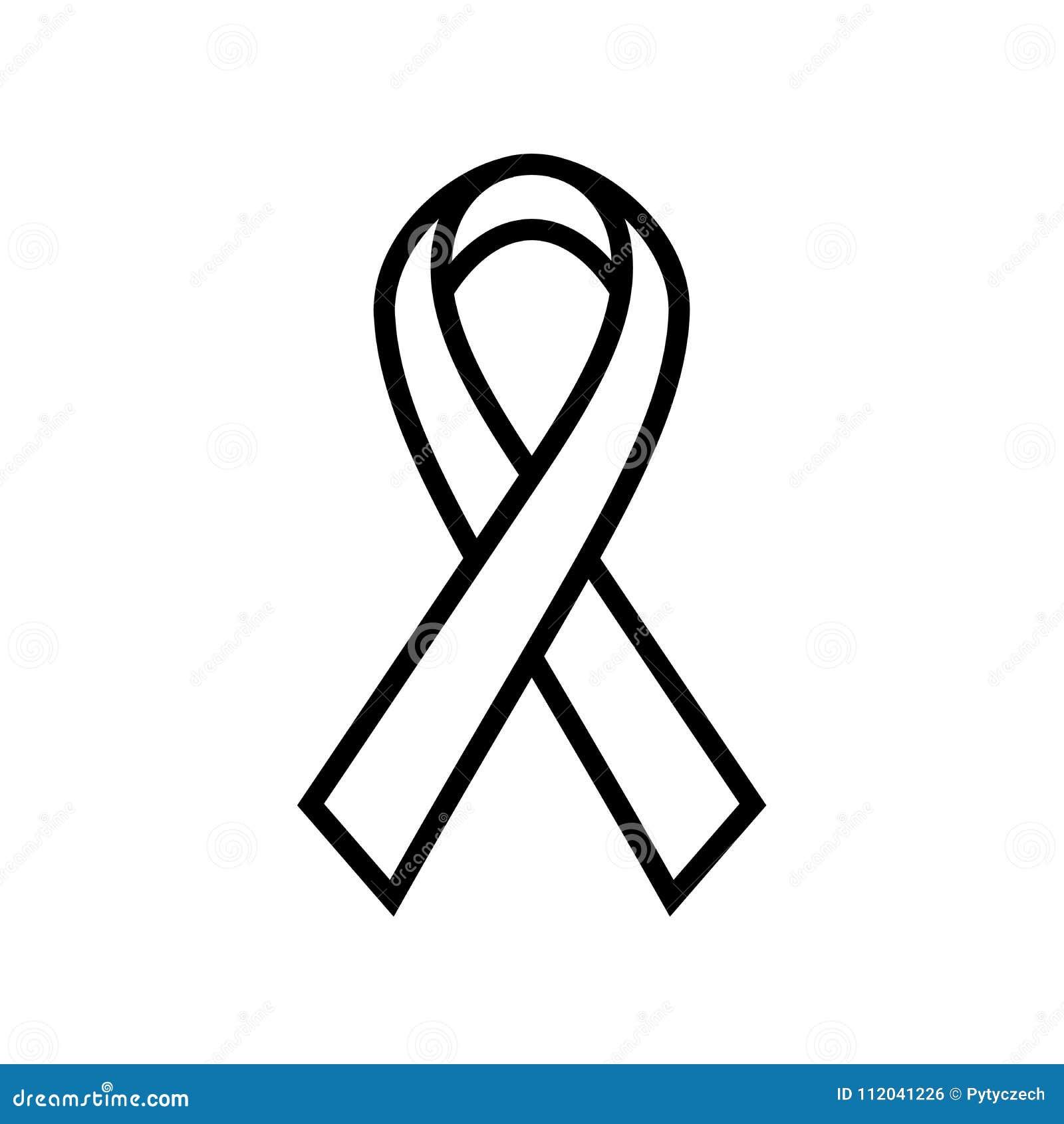 Ícone da fita da conscientização do câncer da mama Símbolo de cuidados médicos das mulheres Ilustração grossa preta simples do ve
