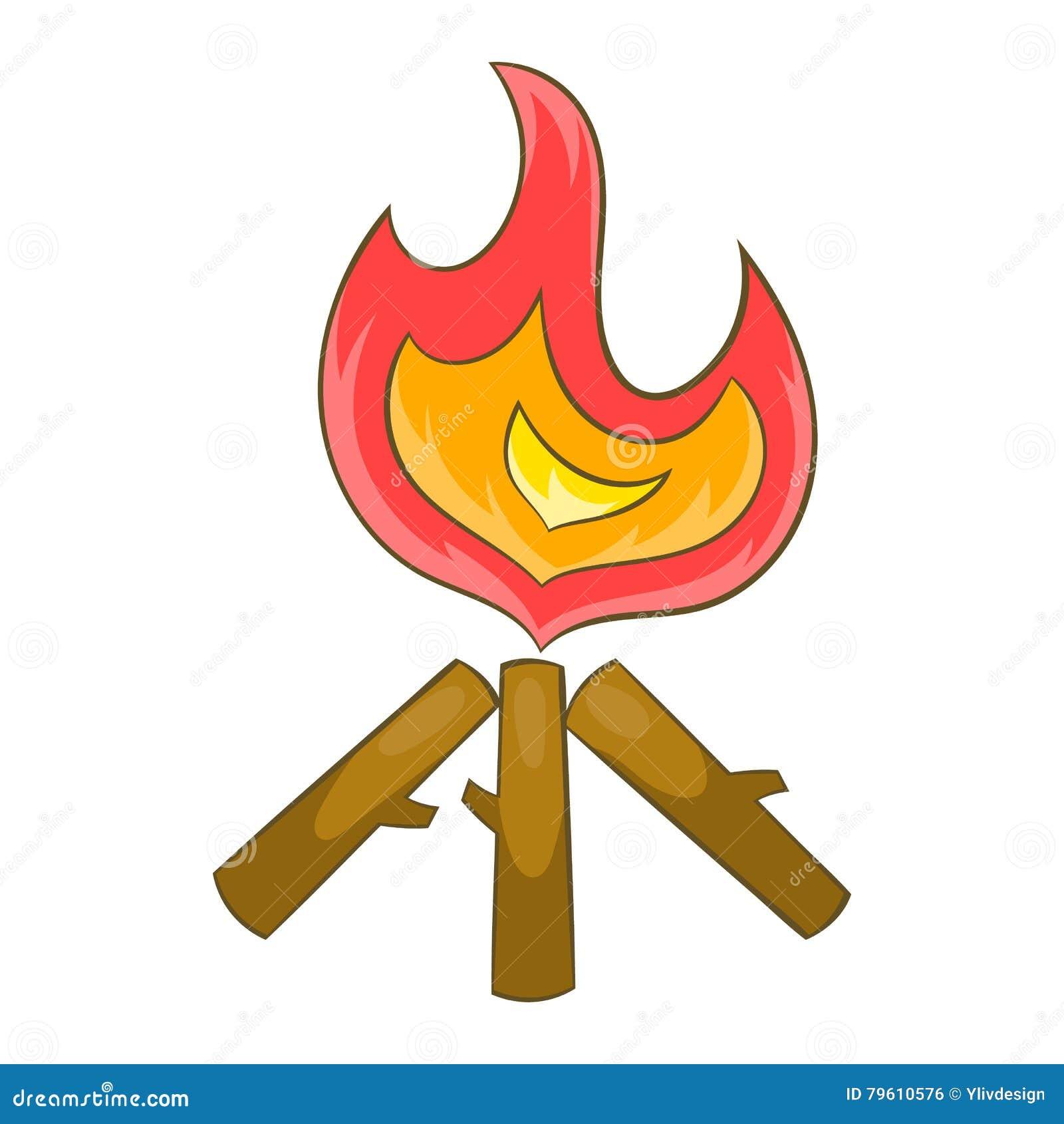 Ícone da fogueira no estilo dos desenhos animados