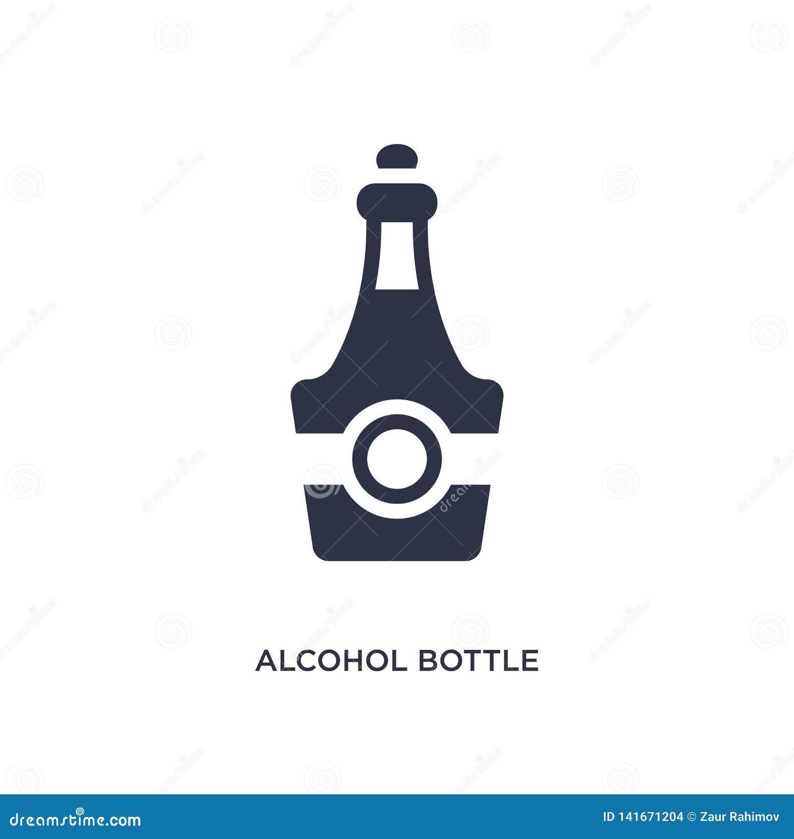 ícone da garrafa do álcool no fundo branco Ilustração simples do elemento do conceito do deserto