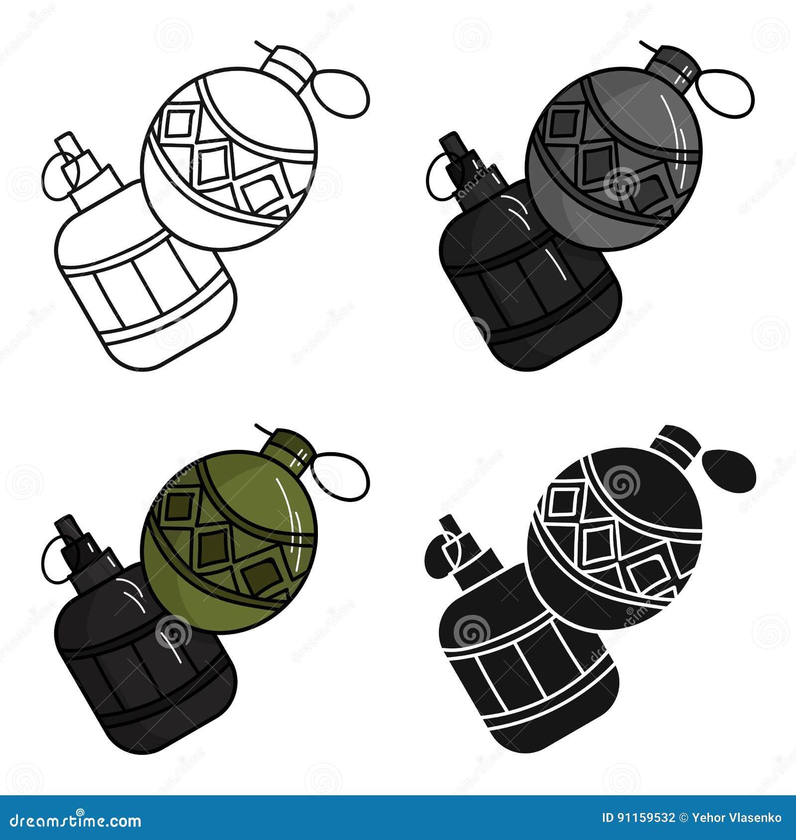 Icone Da Granada De Mao Do Paintball No Estilo Dos Desenhos