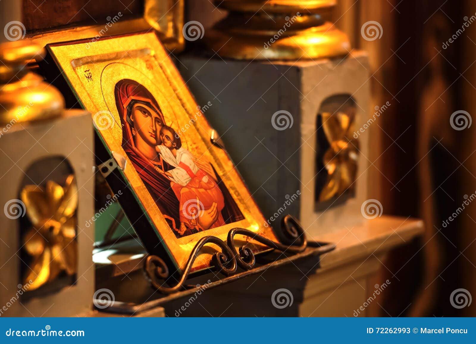 Ícone da igreja da mãe do sym do deus (Mary) e da criança (Jesus Christ)