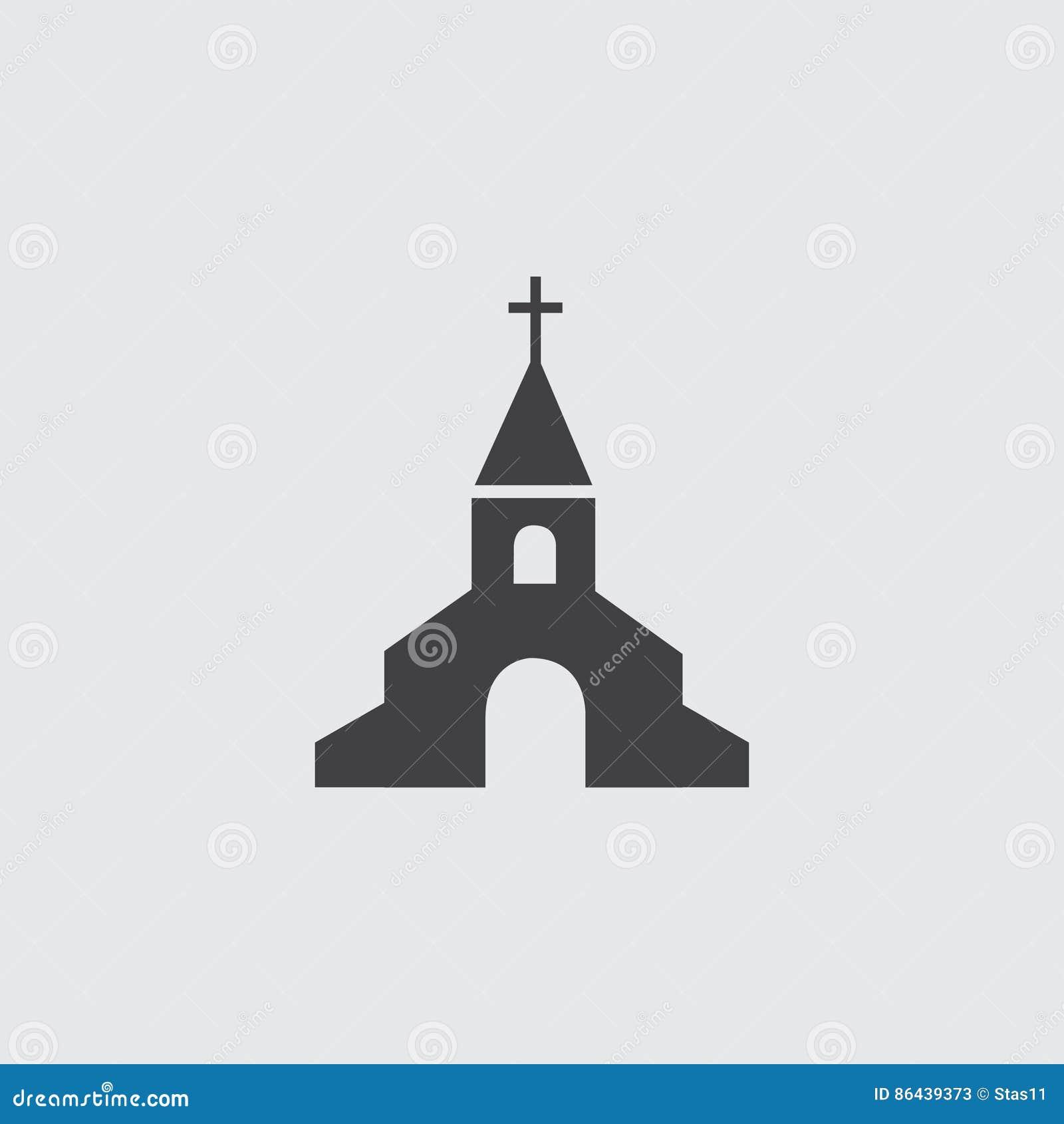 Ícone da igreja em um projeto liso na cor preta Ilustração EPS10 do vetor