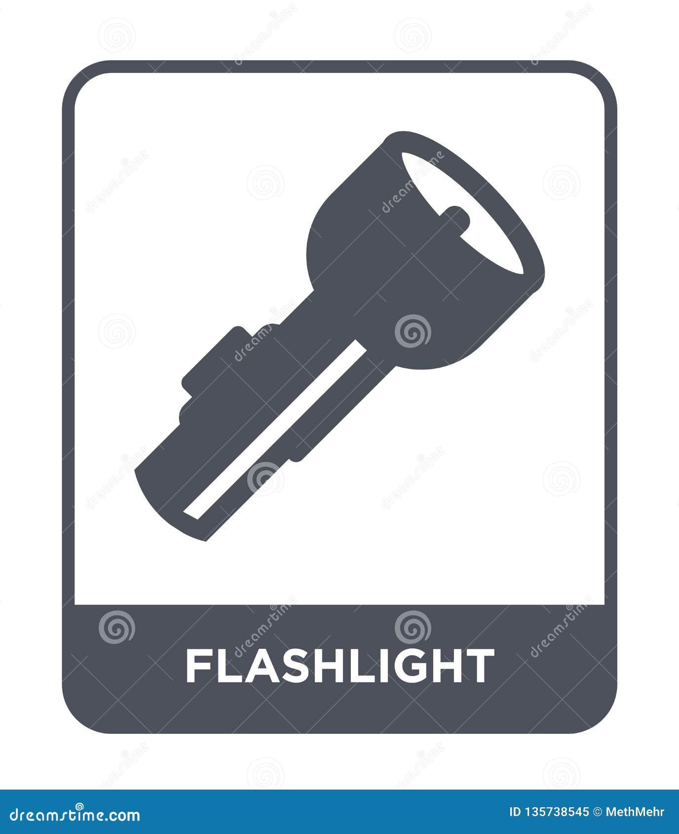 ícone da lanterna elétrica no estilo na moda do projeto Ícone da lanterna elétrica isolado no fundo branco ícone do vetor da lant