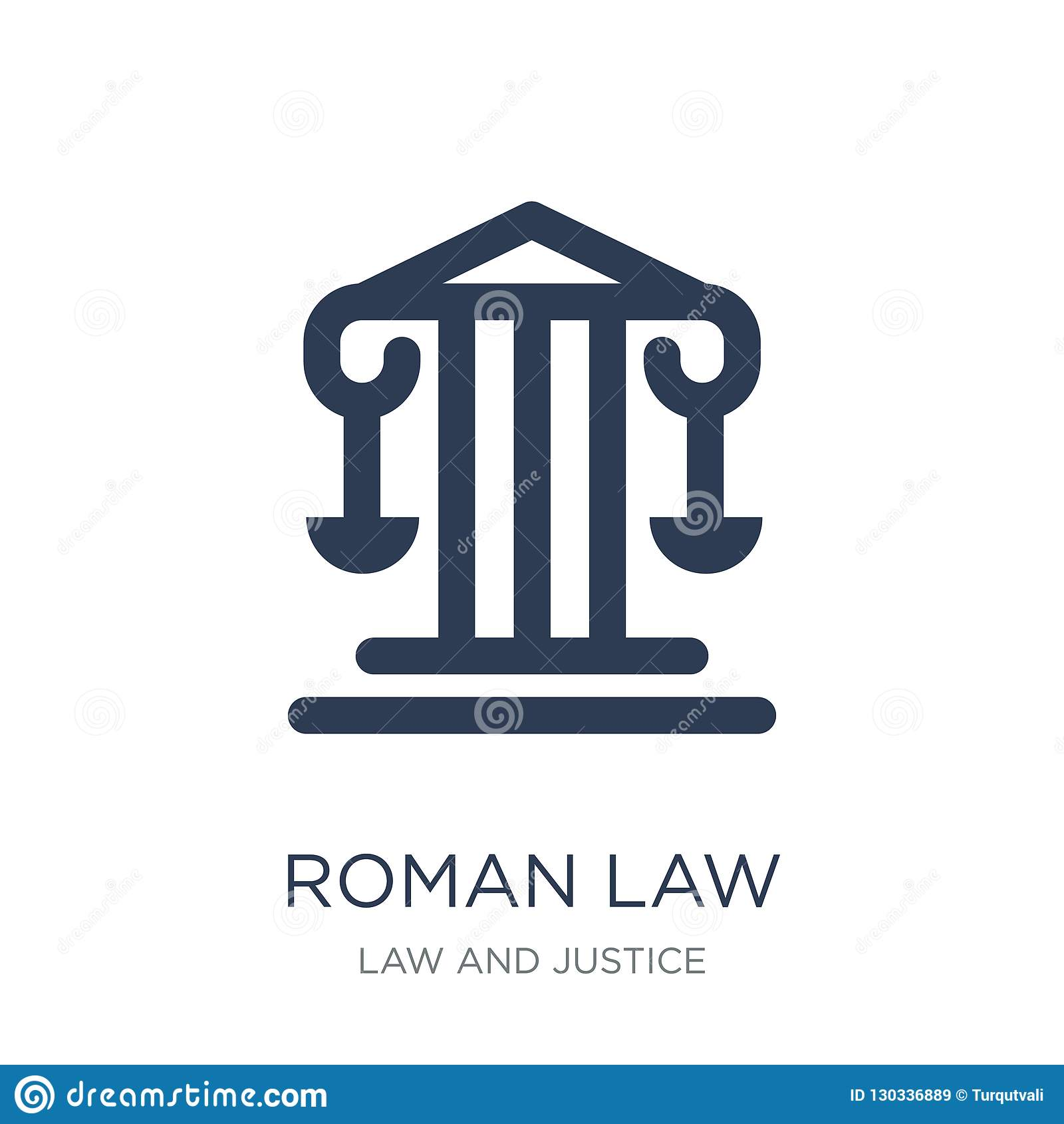 ícone da lei romana Ícone liso na moda da lei romana do vetor no backg branco