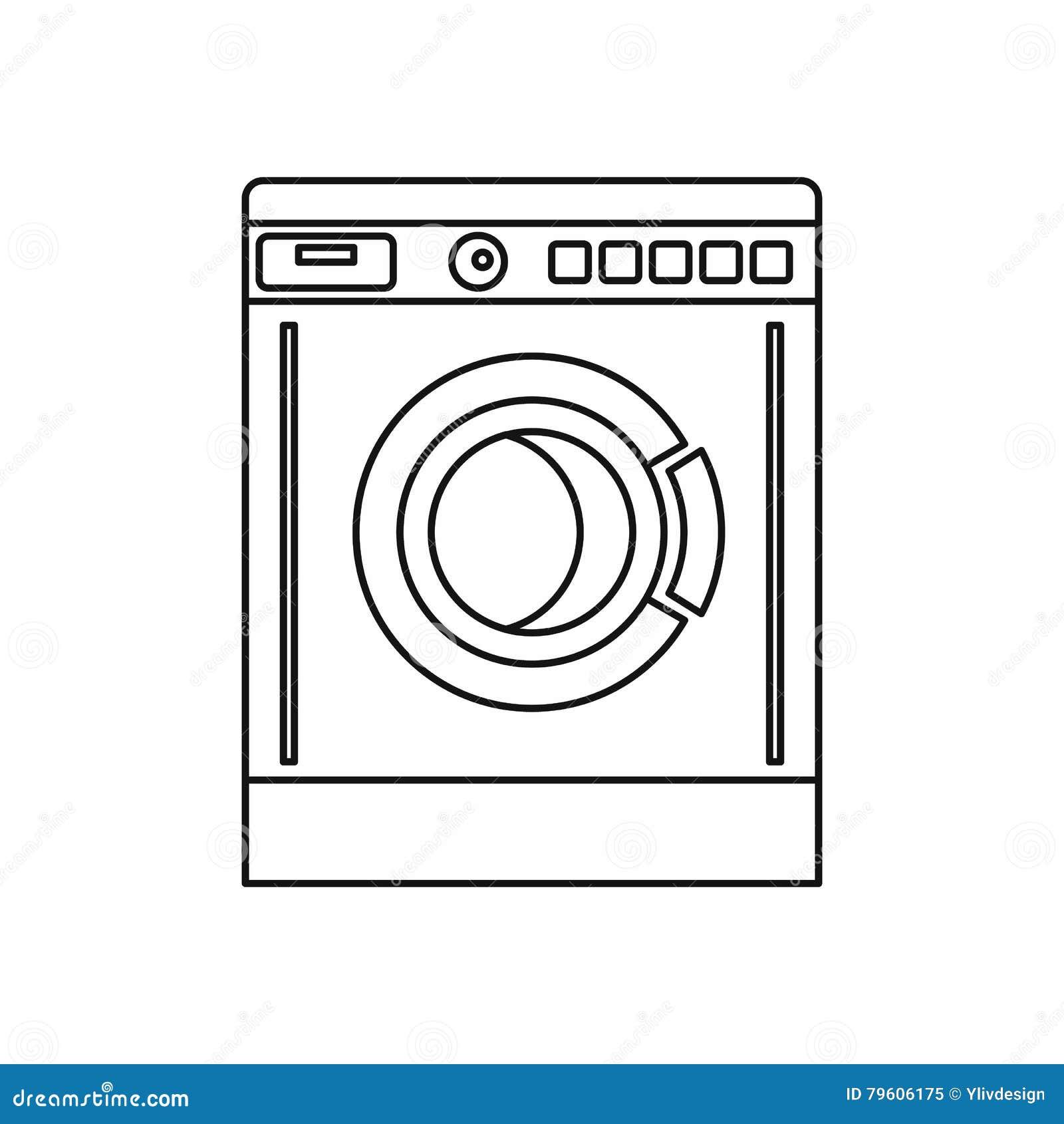 Ícone da máquina de lavar, estilo do esboço
