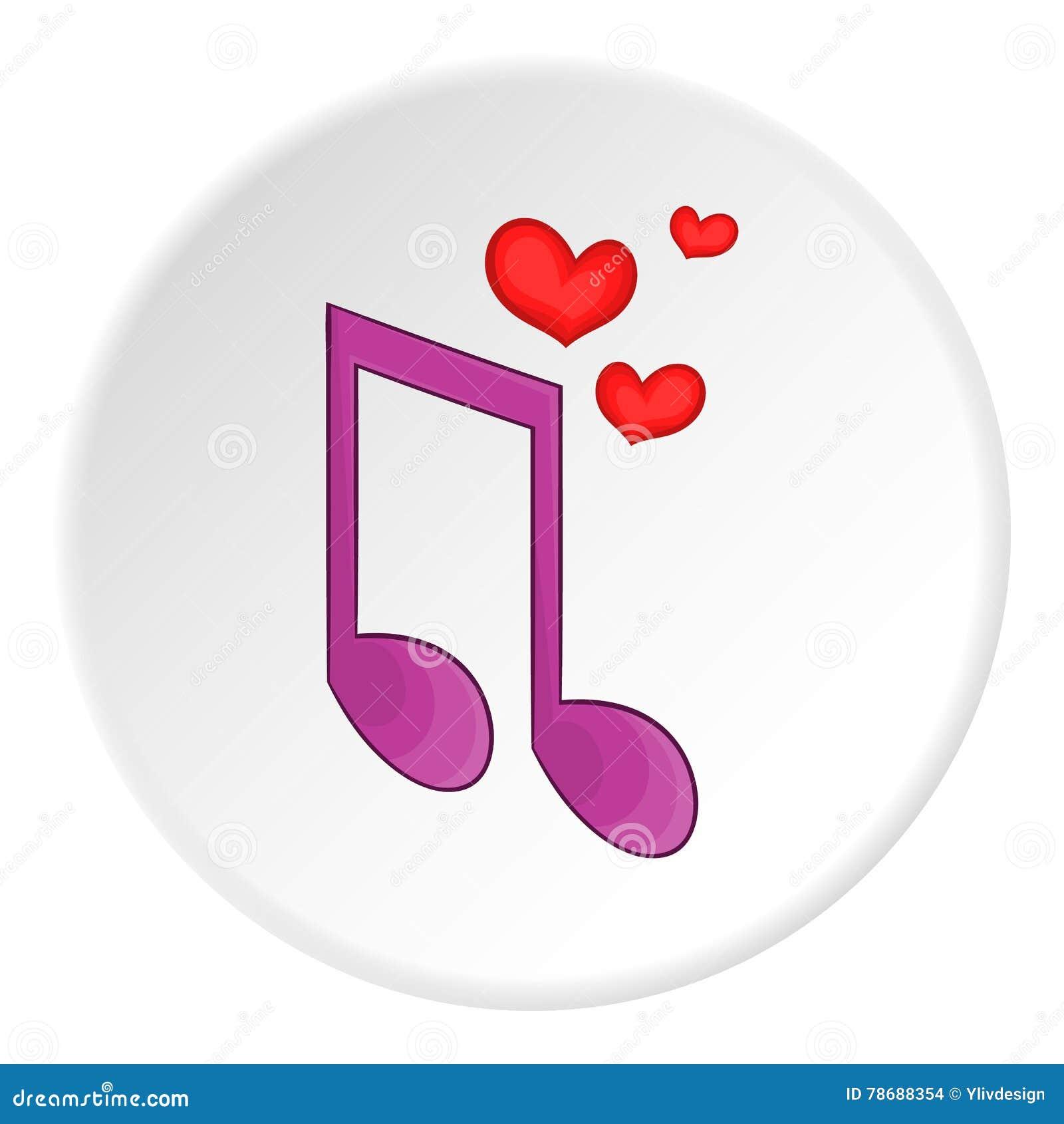 Icone Da Musica De Amor Estilo Dos Desenhos Animados Ilustracao