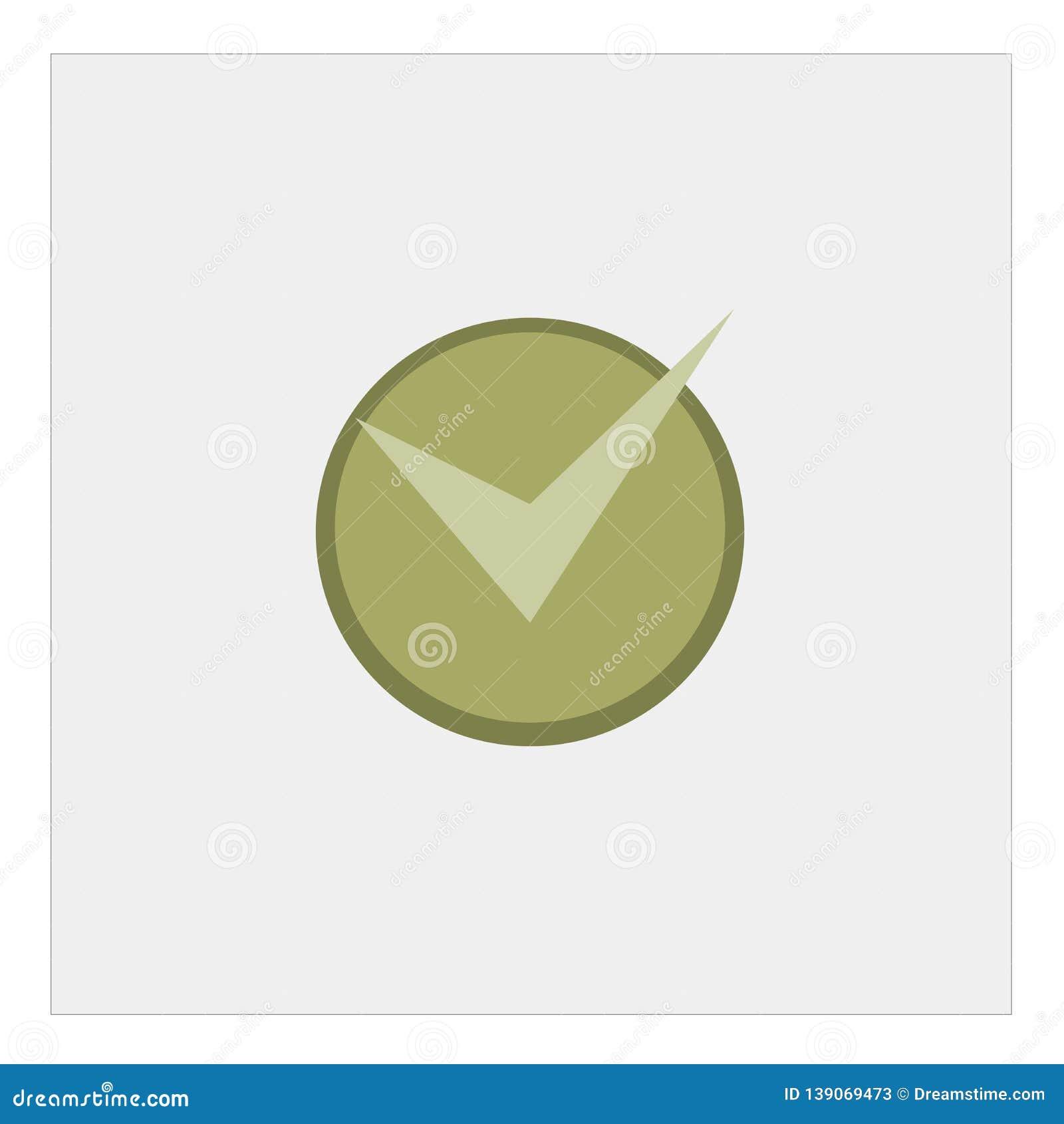 Ícone da marca de verificação no estilo liso A aprovação, aceita a ilustração no fundo isolado branco Conceito do negócio do tiqu