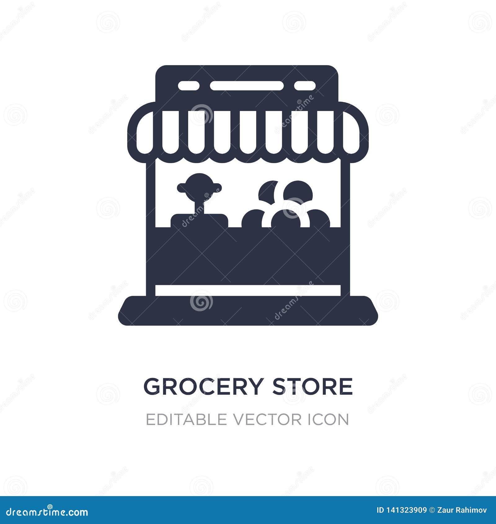 ícone da mercearia no fundo branco Ilustração simples do elemento do conceito do comércio
