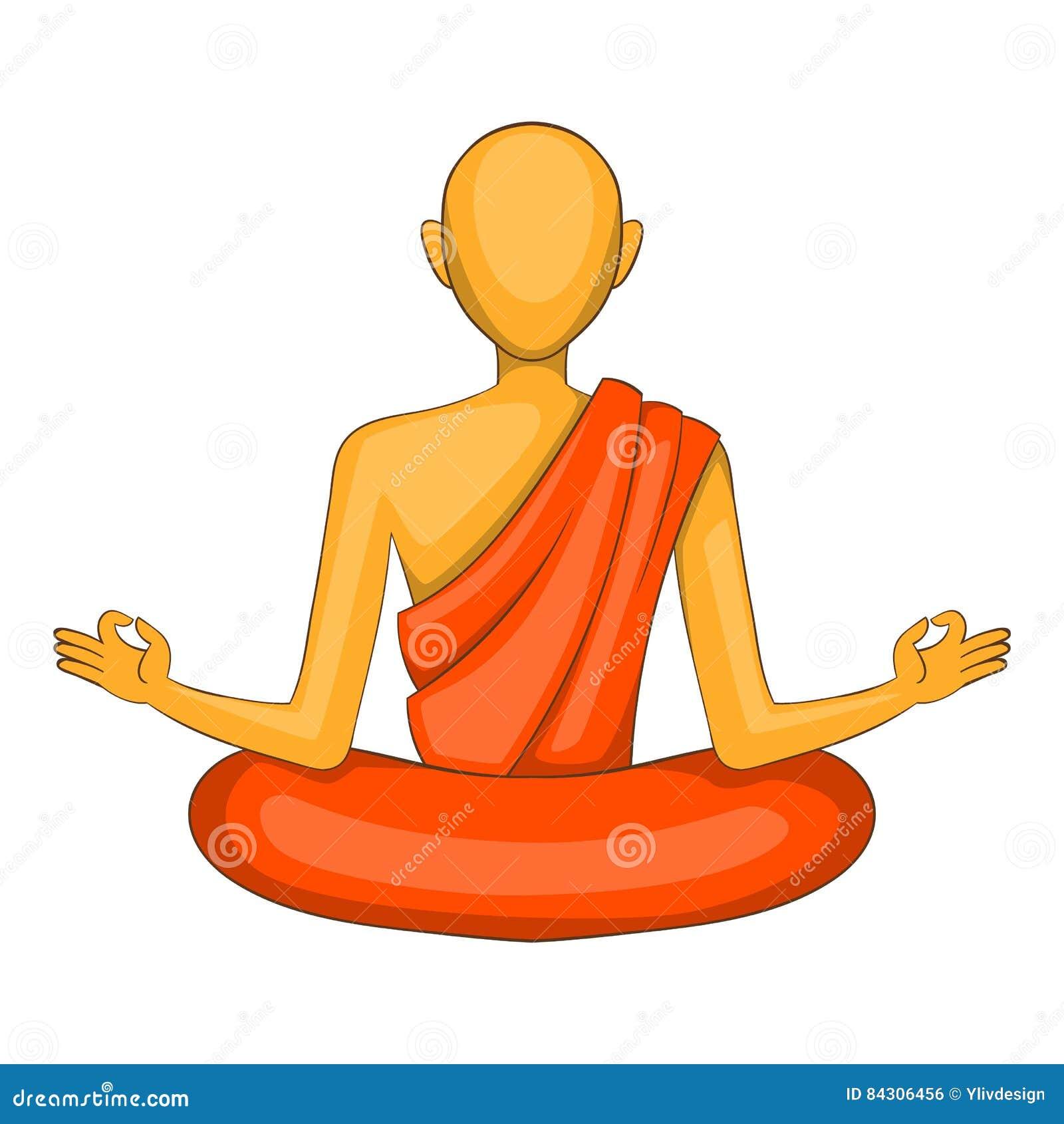 Icone Da Monge Budista Estilo Dos Desenhos Animados Ilustracao Do