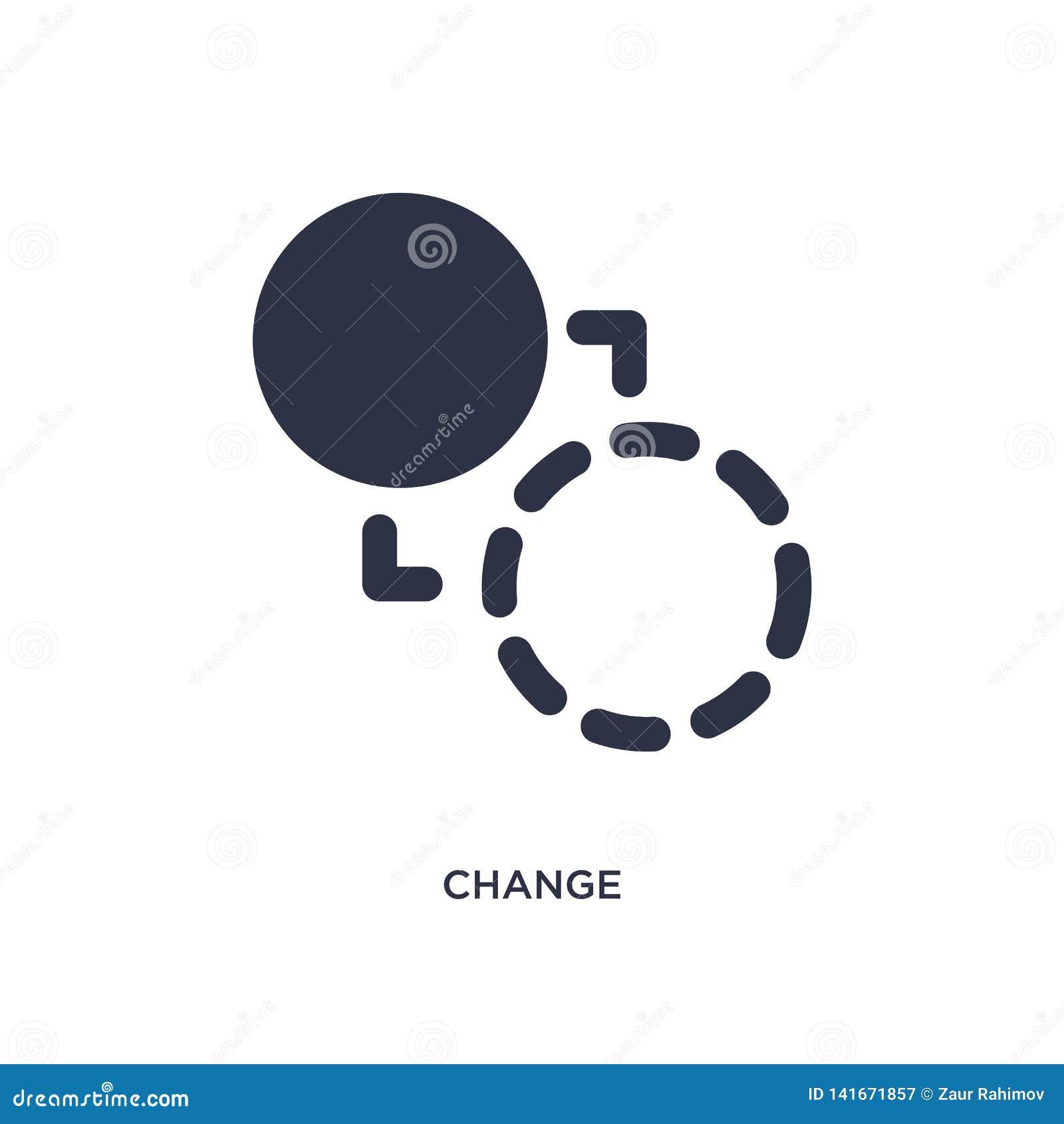 ícone da mudança no fundo branco Ilustração simples do elemento do conceito da geometria