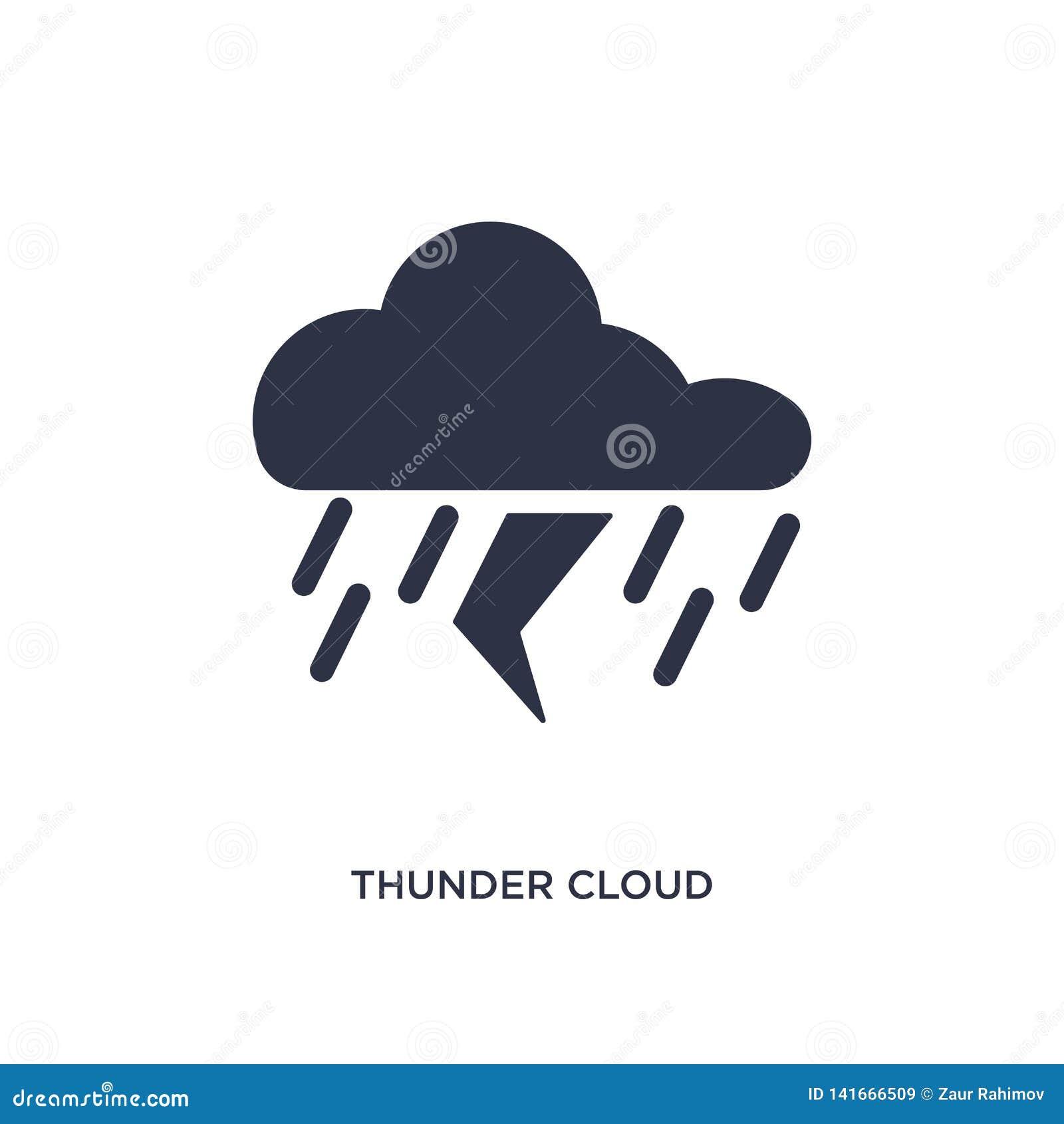 ícone da nuvem de trovão no fundo branco Ilustração simples do elemento do conceito da meteorologia