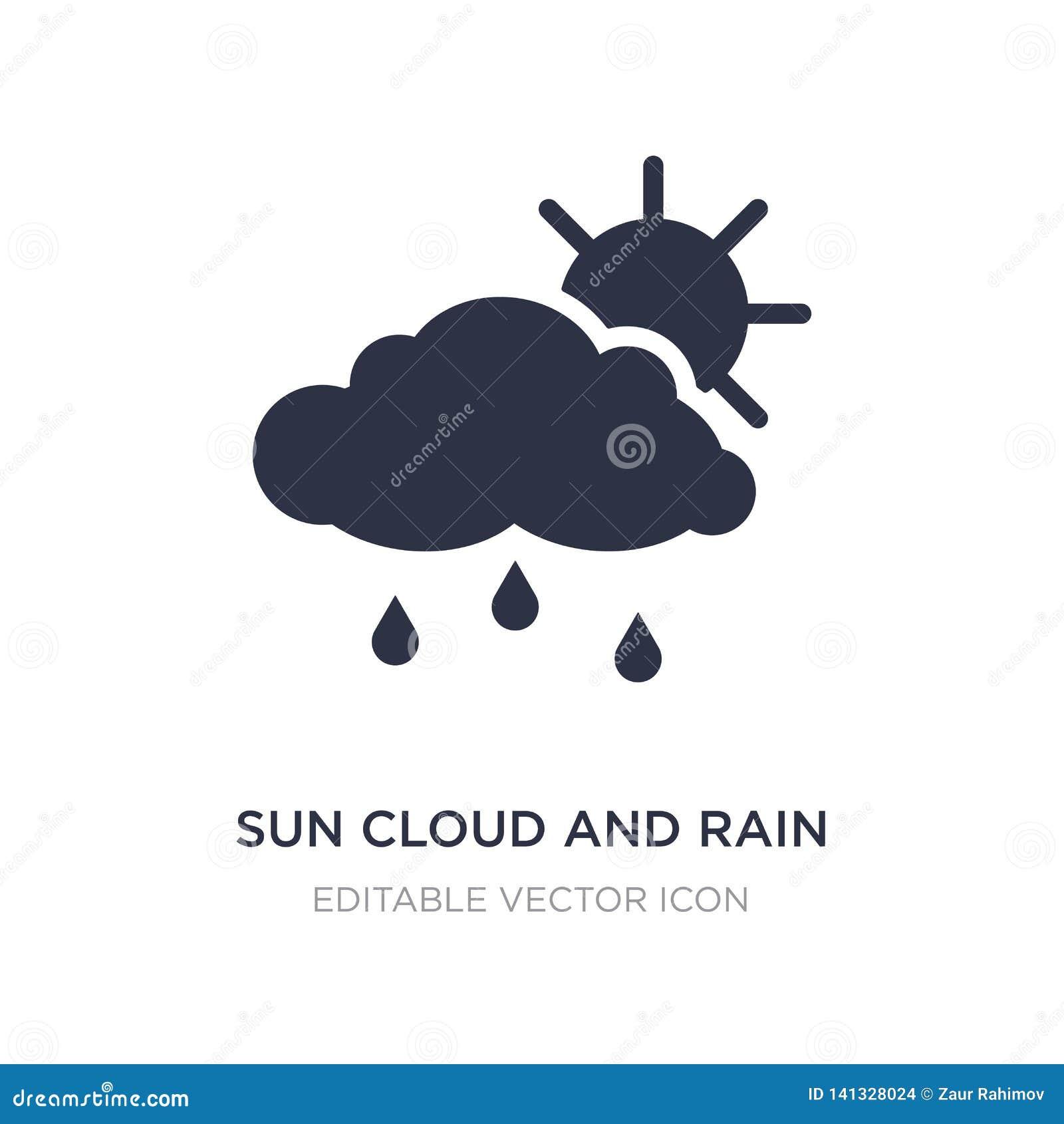 ícone da nuvem e da chuva do sol no fundo branco Ilustração simples do elemento do conceito do tempo