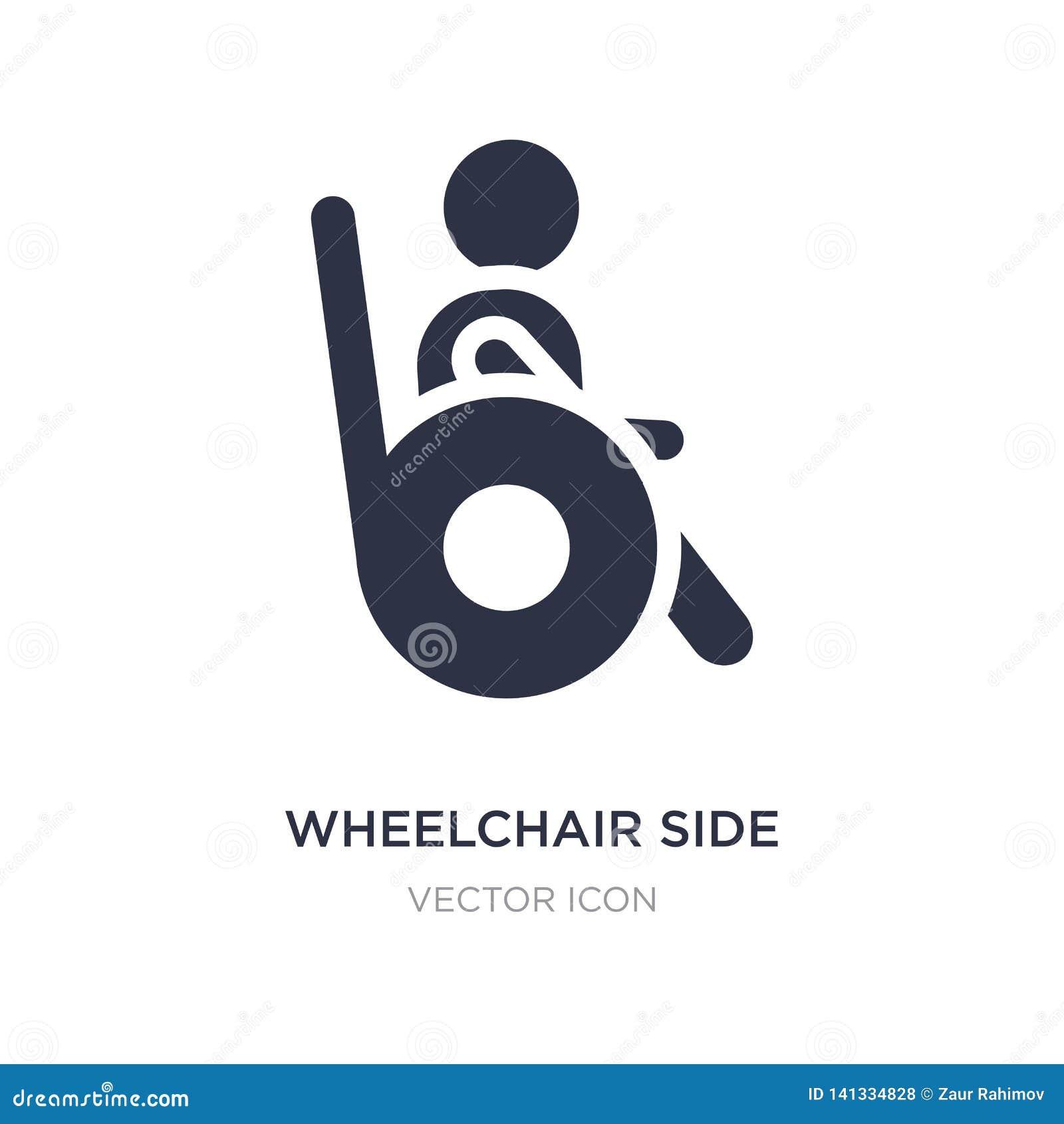 ícone da opinião lateral da cadeira de rodas no fundo branco Ilustração simples do elemento do conceito dos povos