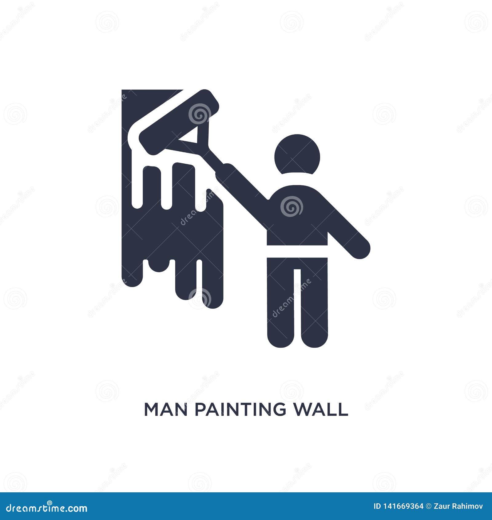 ícone da parede da pintura do homem no fundo branco Ilustração simples do elemento do conceito do comportamento