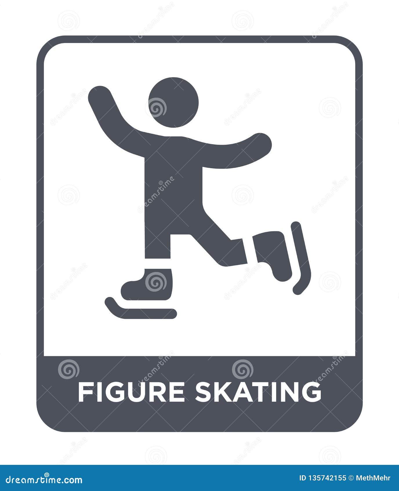 ícone da patinagem artística no estilo na moda do projeto ícone da patinagem artística isolado no fundo branco ícone do vetor da