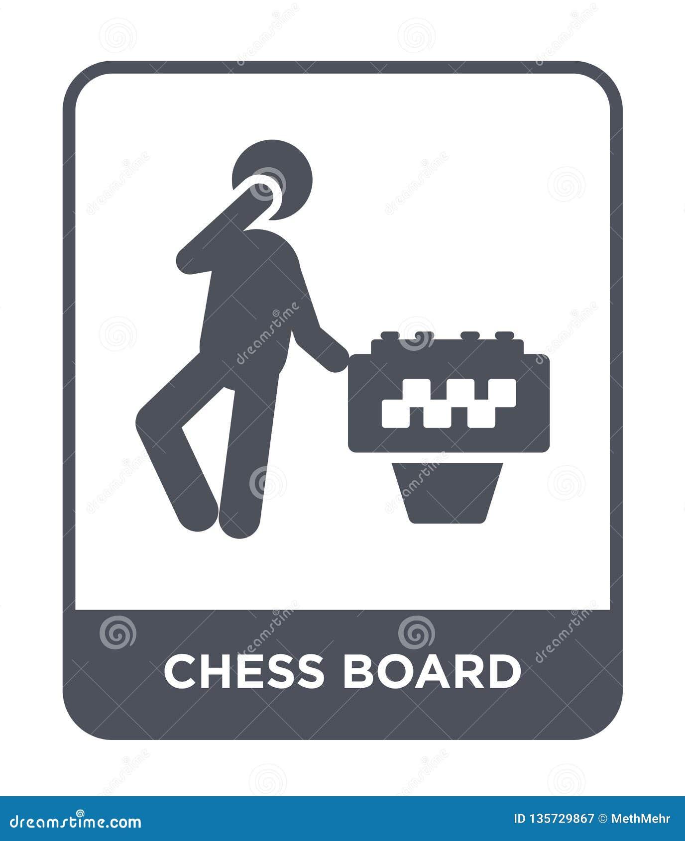 ícone da placa de xadrez no estilo na moda do projeto ícone da placa de xadrez isolado no fundo branco ícone do vetor da placa de