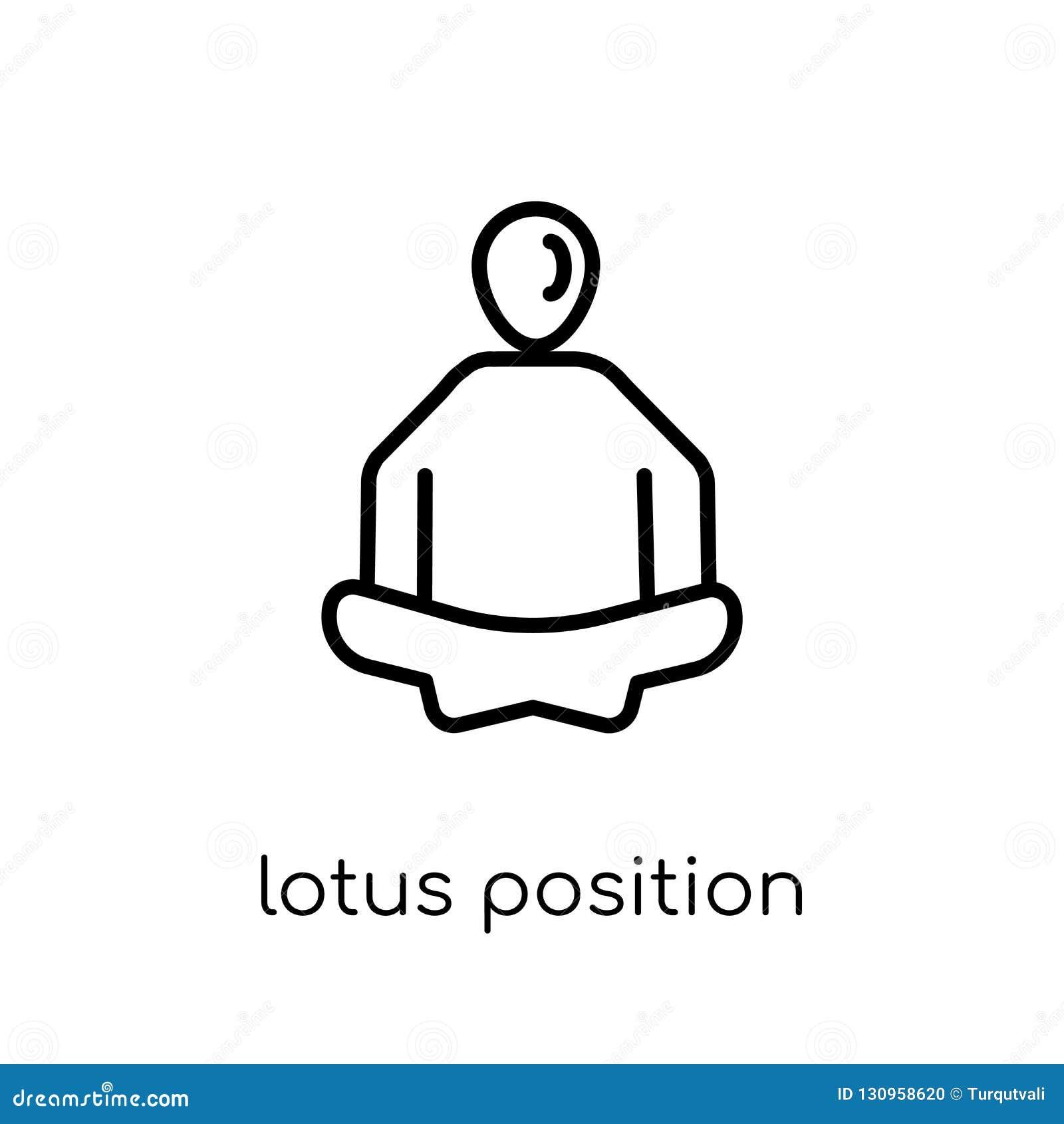 Ícone da posição de Lotus Posi linear liso moderno na moda de Lotus do vetor