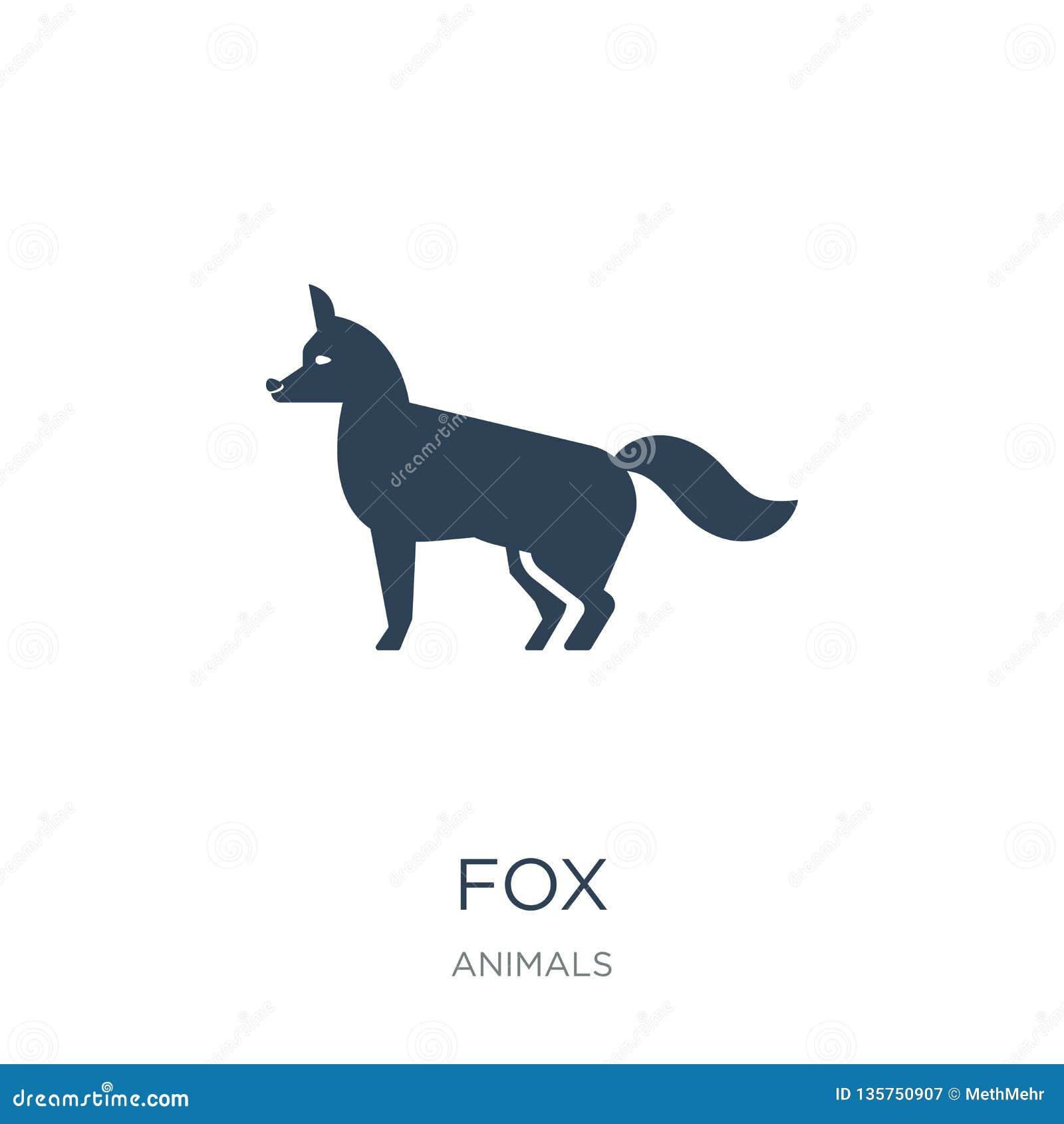 ícone da raposa no estilo na moda do projeto ícone da raposa isolado no fundo branco símbolo liso simples e moderno do ícone do v