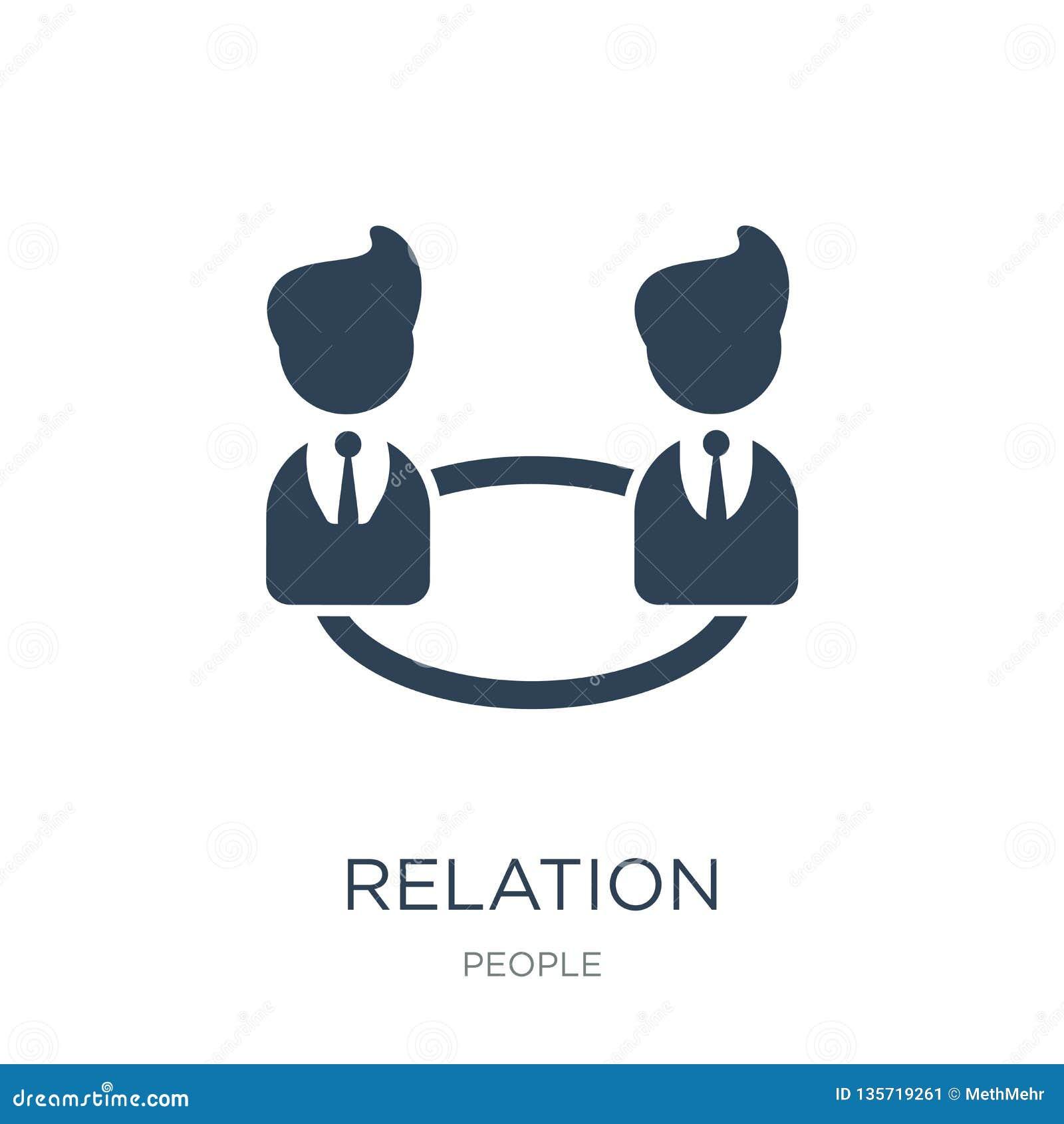 ícone da relação no estilo na moda do projeto ícone da relação isolado no fundo branco plano simples e moderno do ícone do vetor