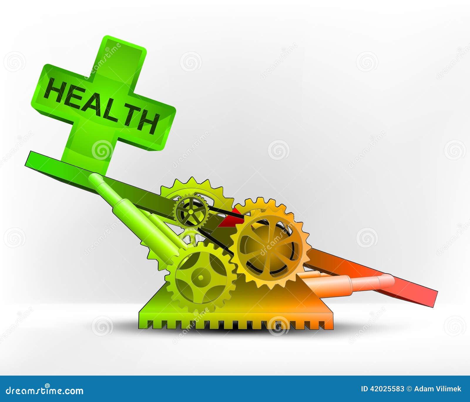 Ícone da saúde na área verde no vetor do conceito da máquina do balanço